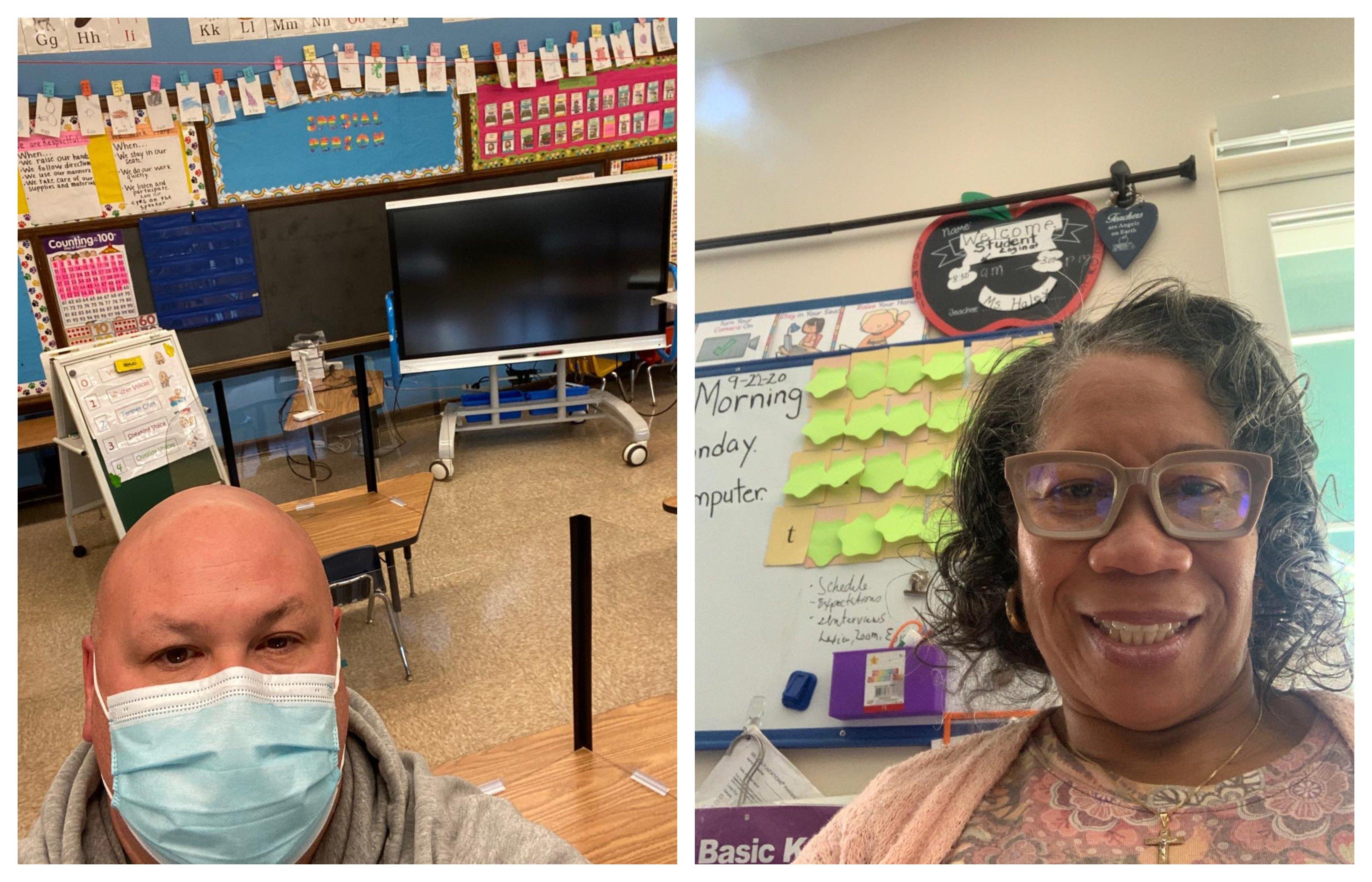 Dan DiMartino (left) is a kindergarten teacher at Shawmont Elementary in Roxborough. Valerie Haley (right) is a kindergarten teacher at William Rowen Elementary School in West Oak Lane.