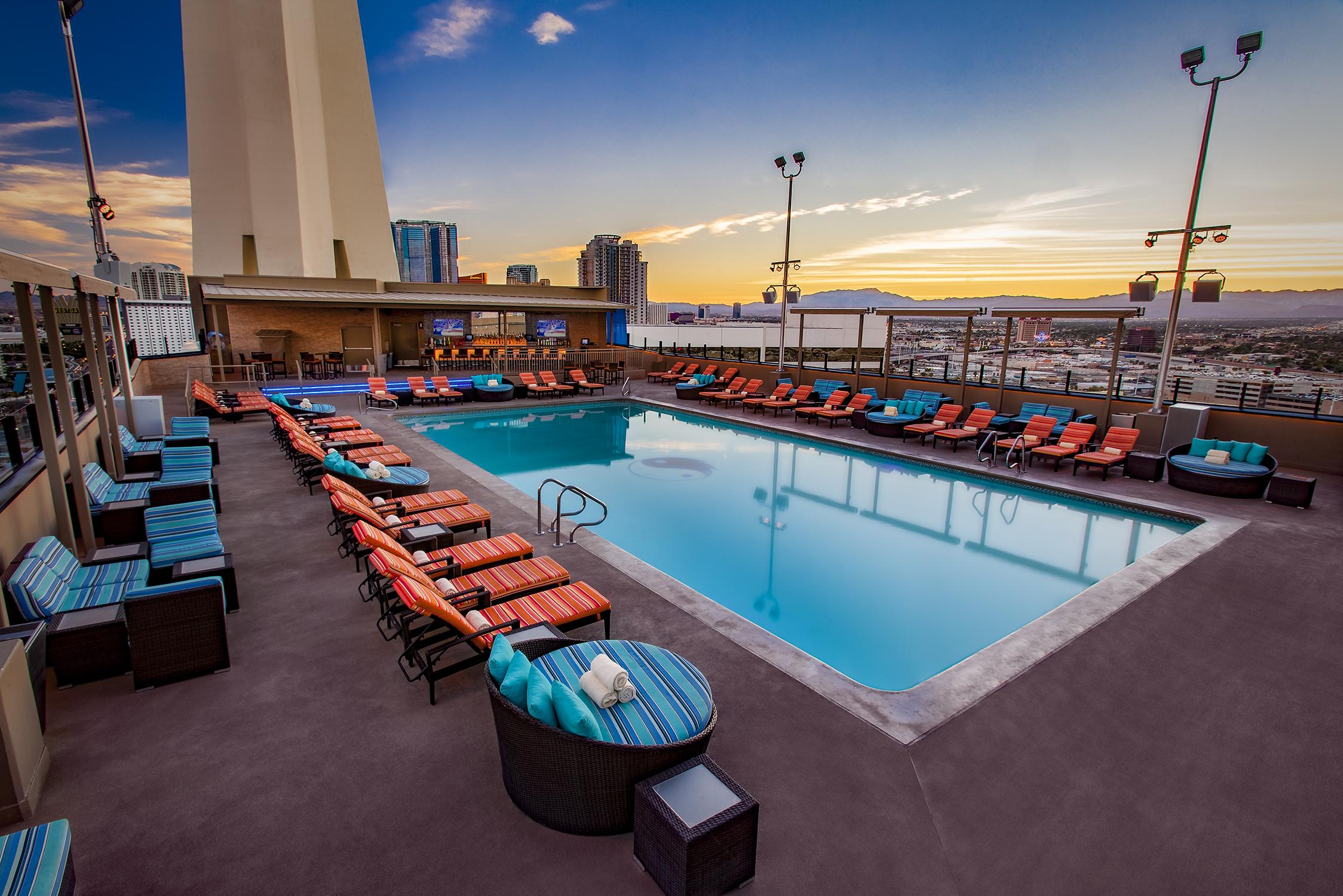 A pool at dusk