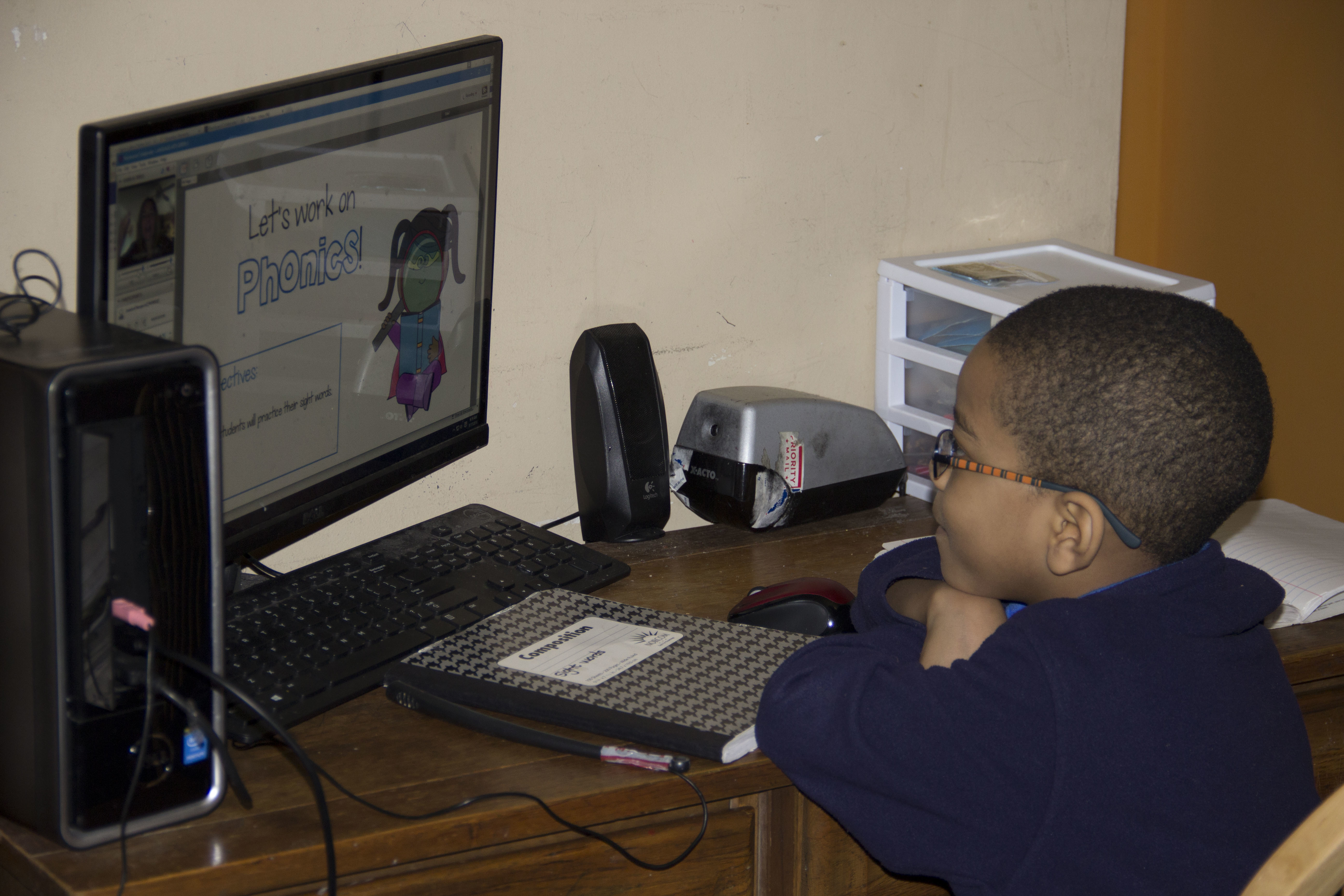 An early learner studies at home in Philadelphia.