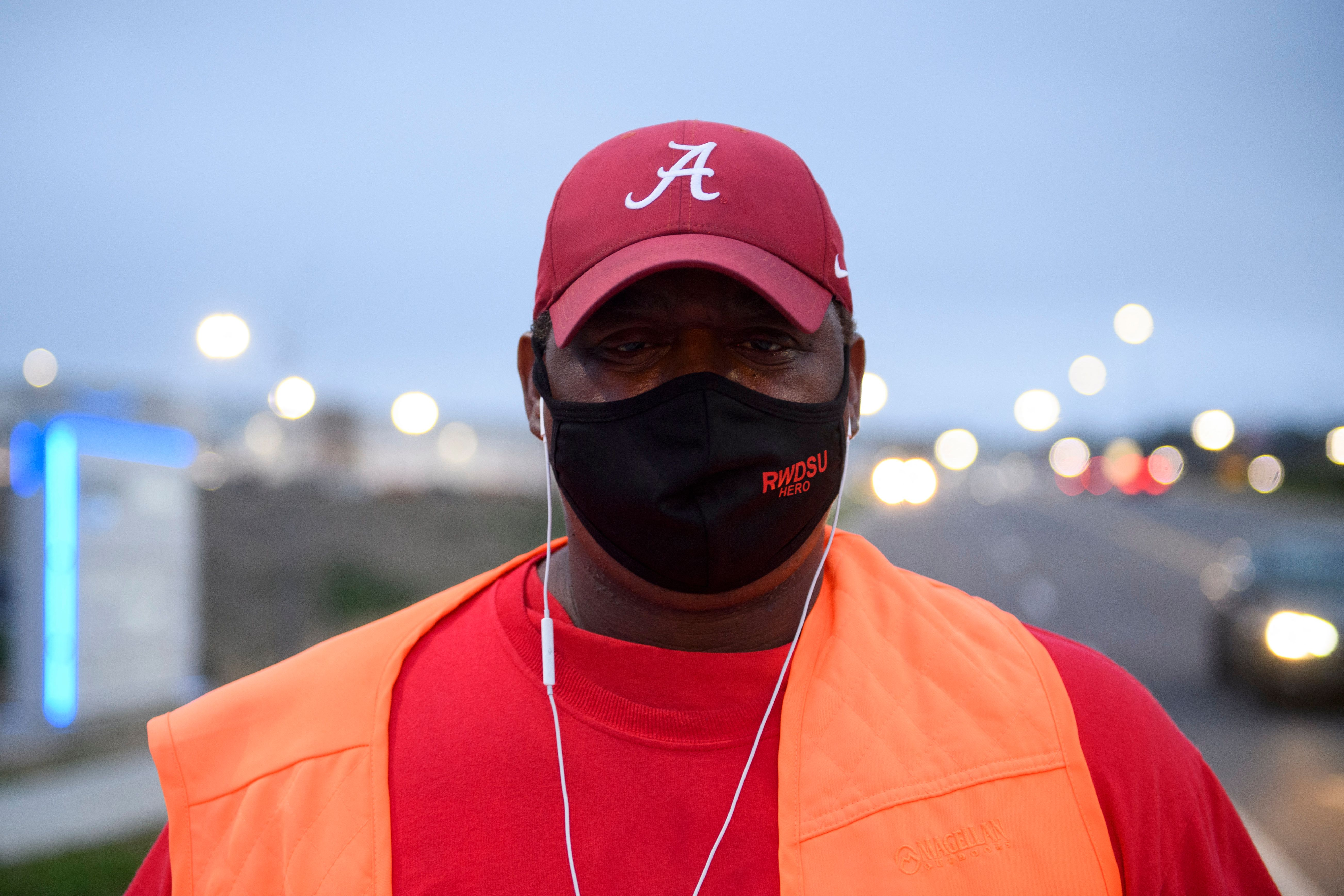 A union organizer named Steve stands outside of the Amazon fulfillment center in Bessemer, Alabama.