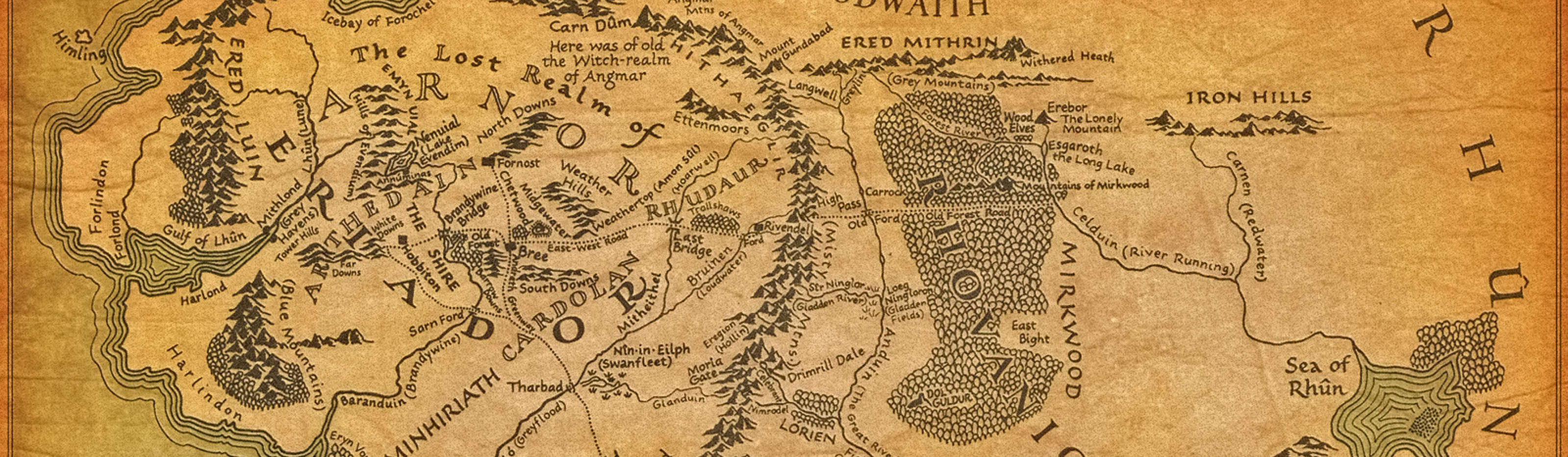A map of Middle-earth from The Lord of the Rings books.