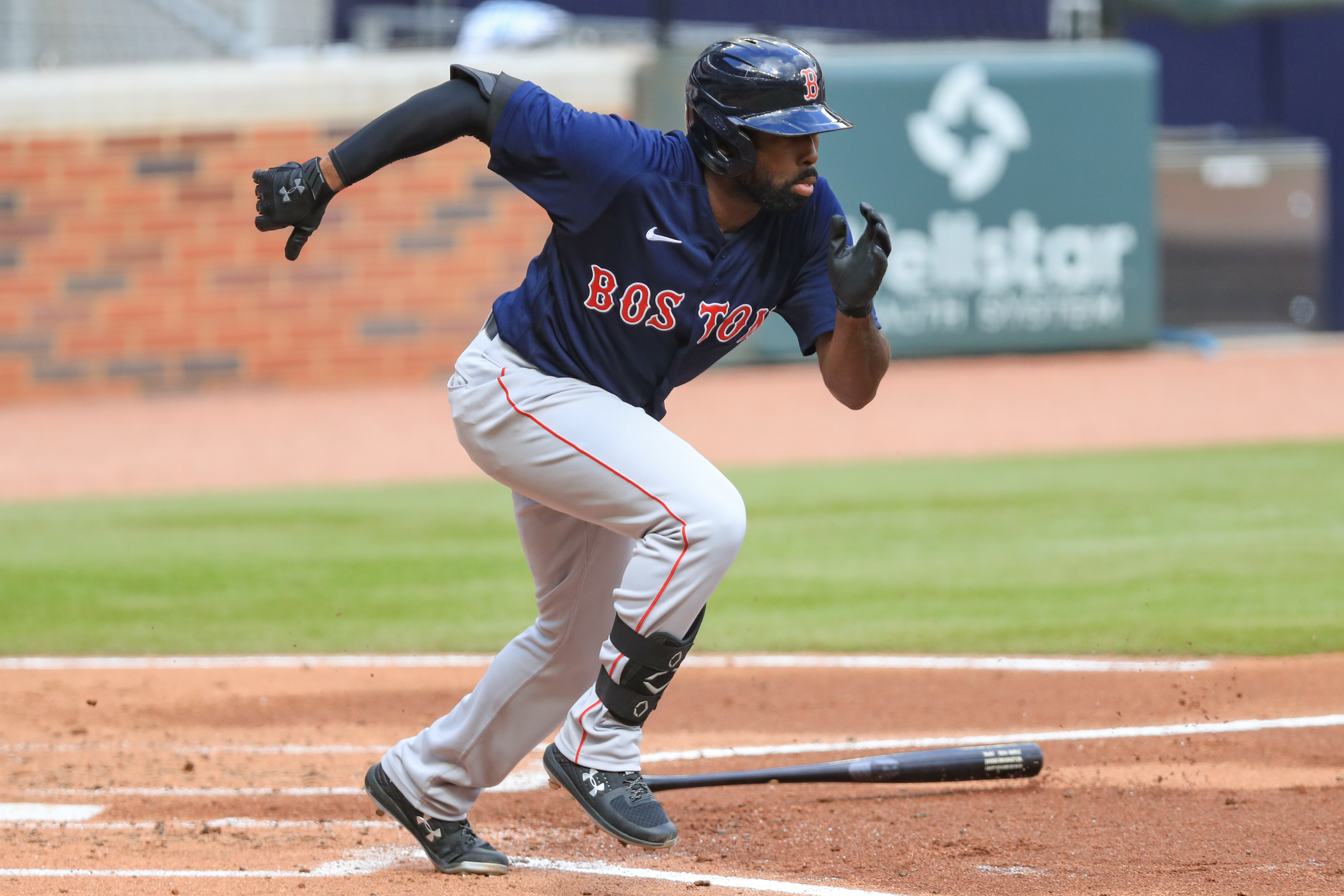 Jackie Bradley Jr. #19 of the Boston Red Sox in action during a game against the Atlanta Braves at Truist Park on September 27, 2020 in Atlanta, Georgia.