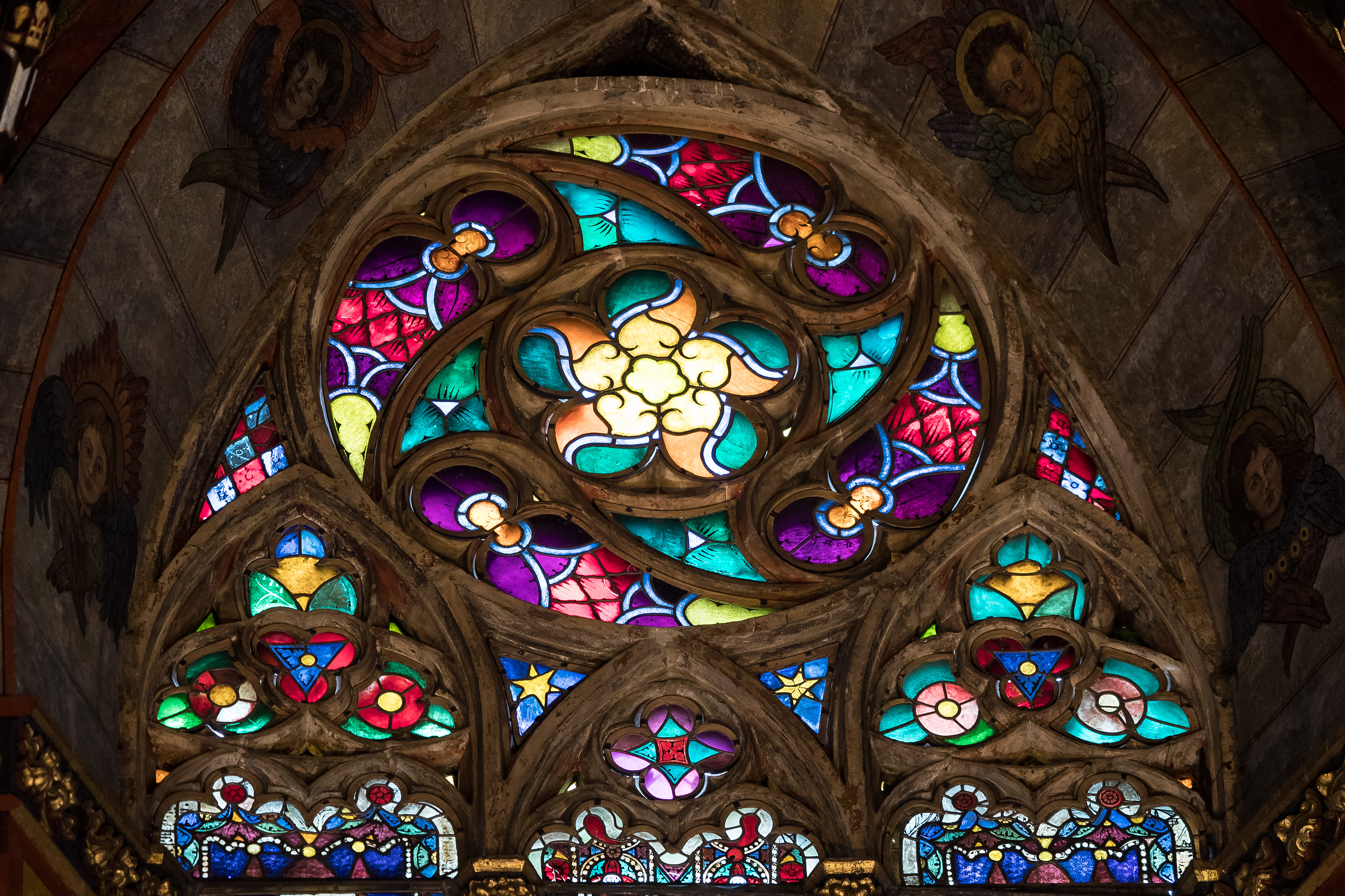 Gothic stained glass altarpiece by Veit Stoss at St. Mary's Basilica in Krakow, Poland.