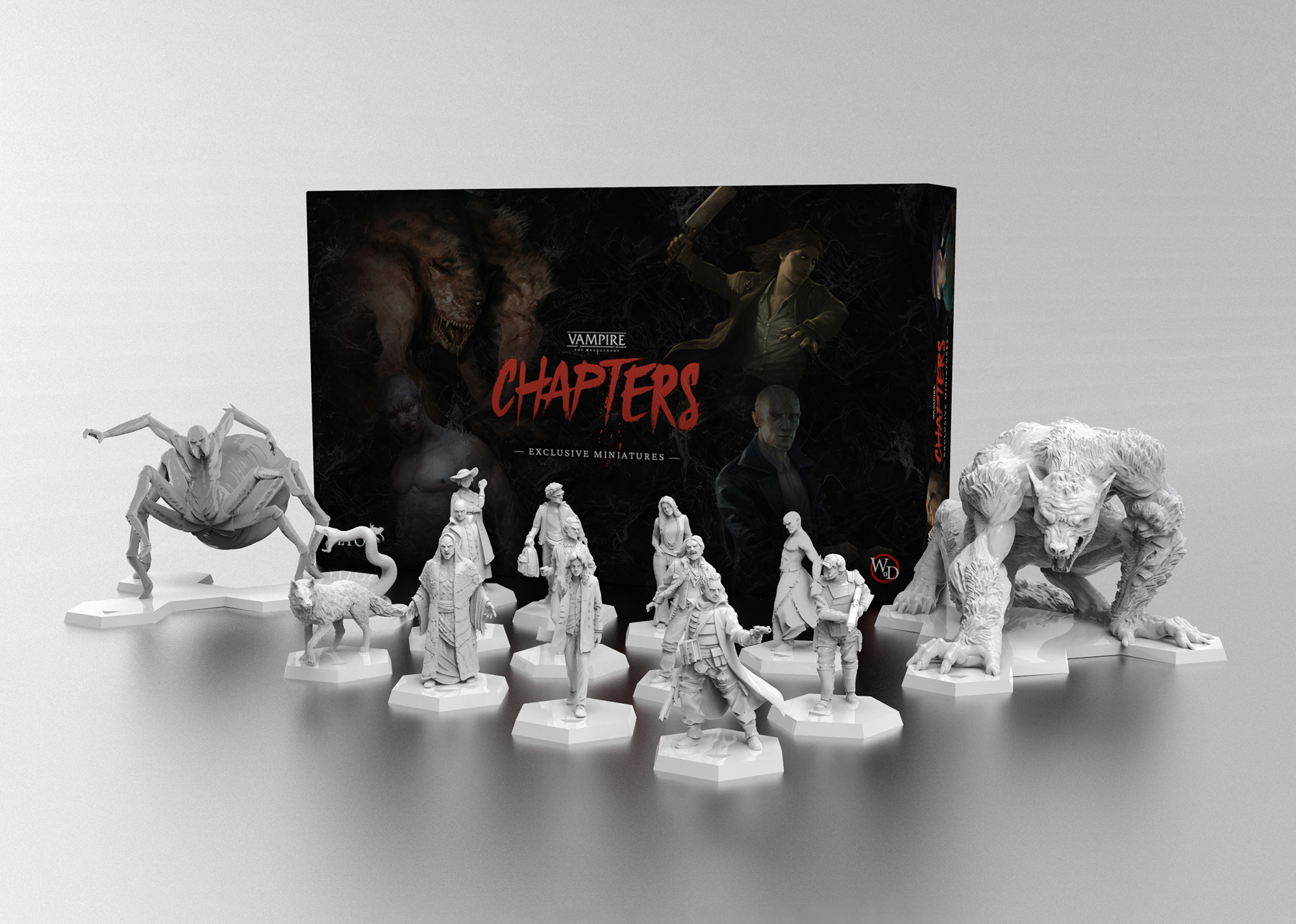 A render of some of the miniatures included with Vampire: The Masquerade - Chapters. There's a spider and a very large wolf, as well as many humanoids, standing in front of the black box.