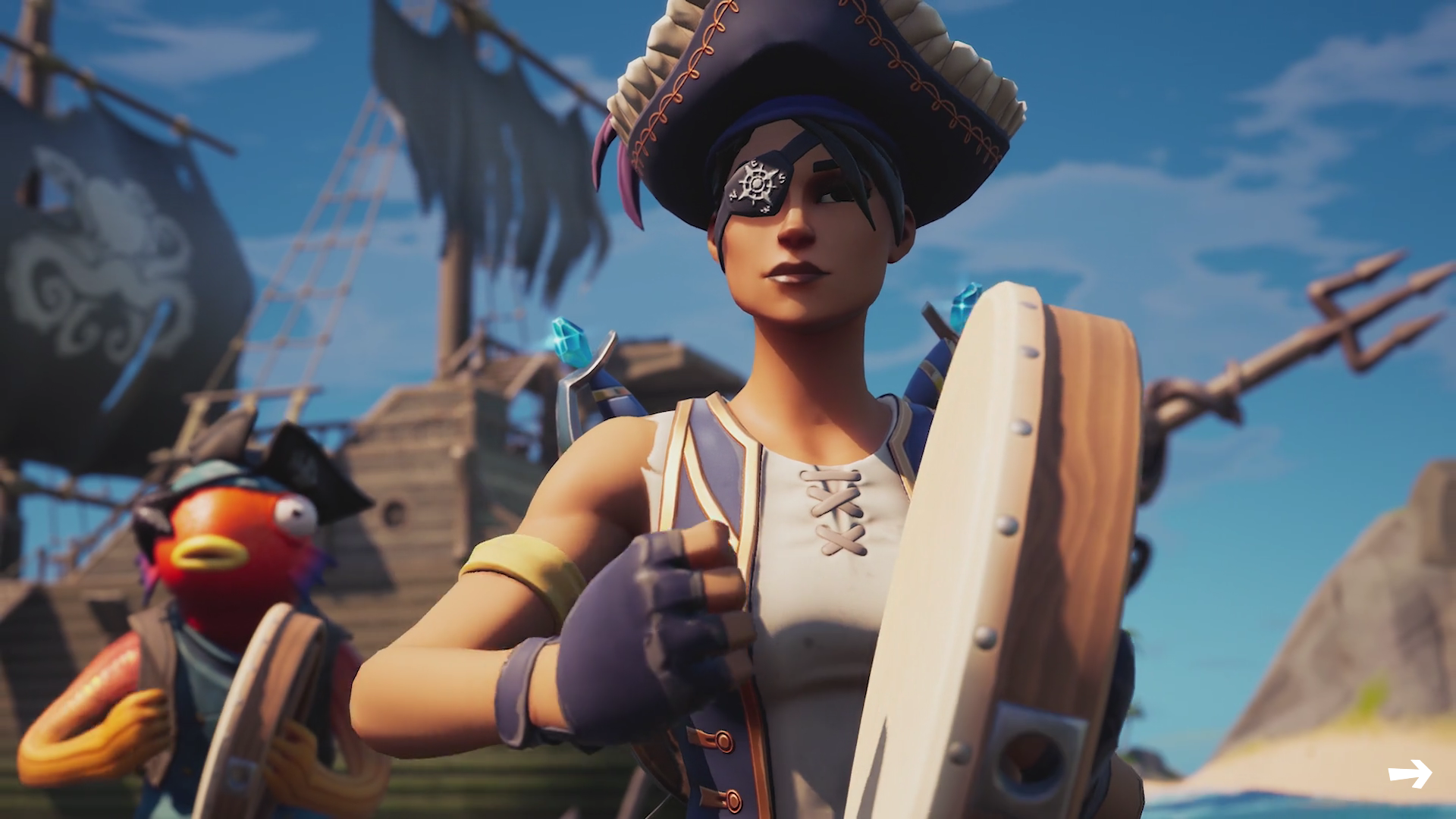 A Fortnite players uses the Shanty for a Squad emote