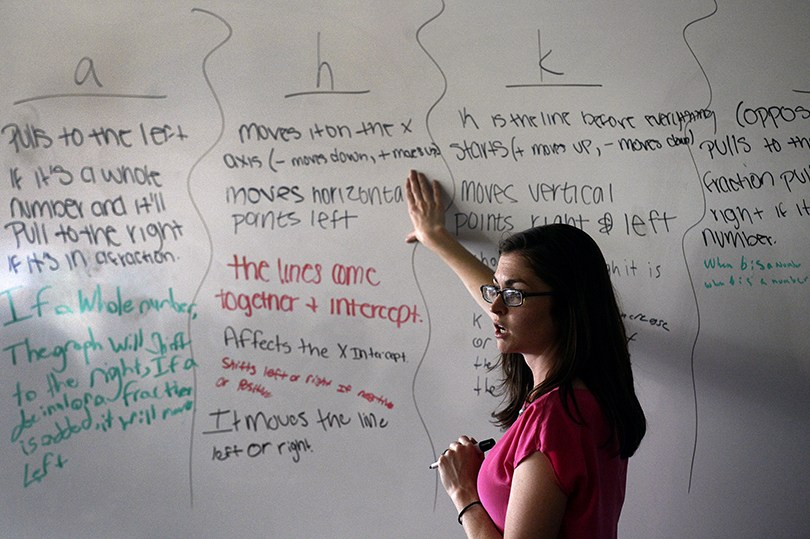 A female teacher in a pink shirt points to a math problem on a white board.