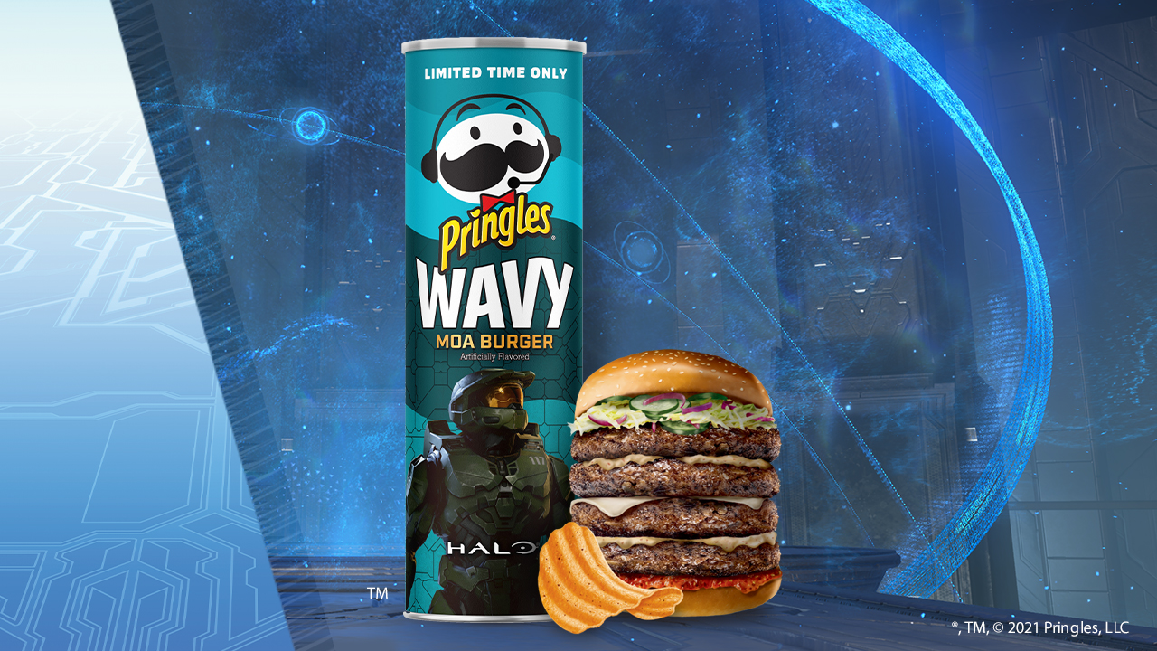 A product shot of Pringles Wavy Moa Burger chips
