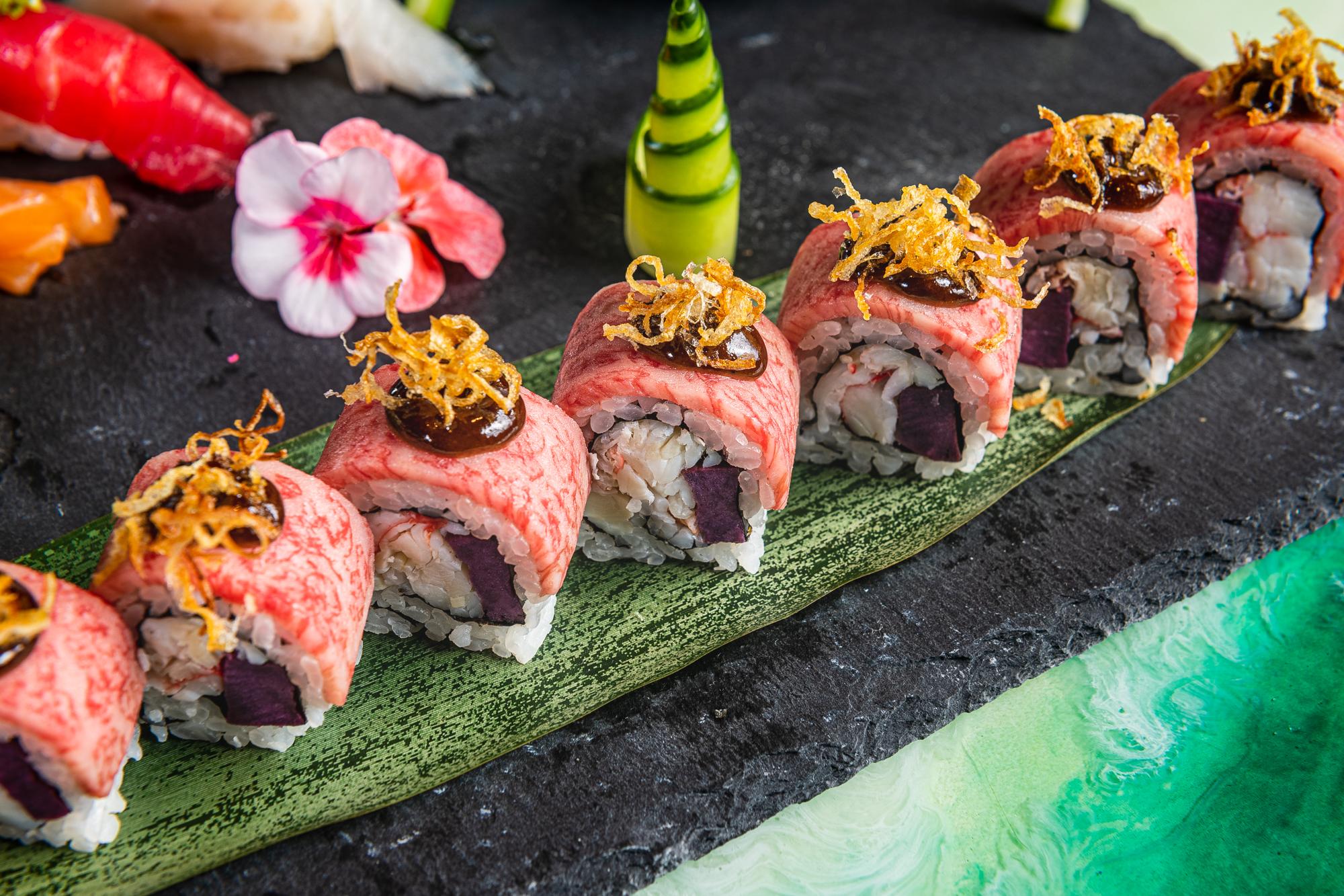 A NaRa-Ya roll with Alaskan king crab, purple sweet potato, and A5 Japanese wagyu beef.
