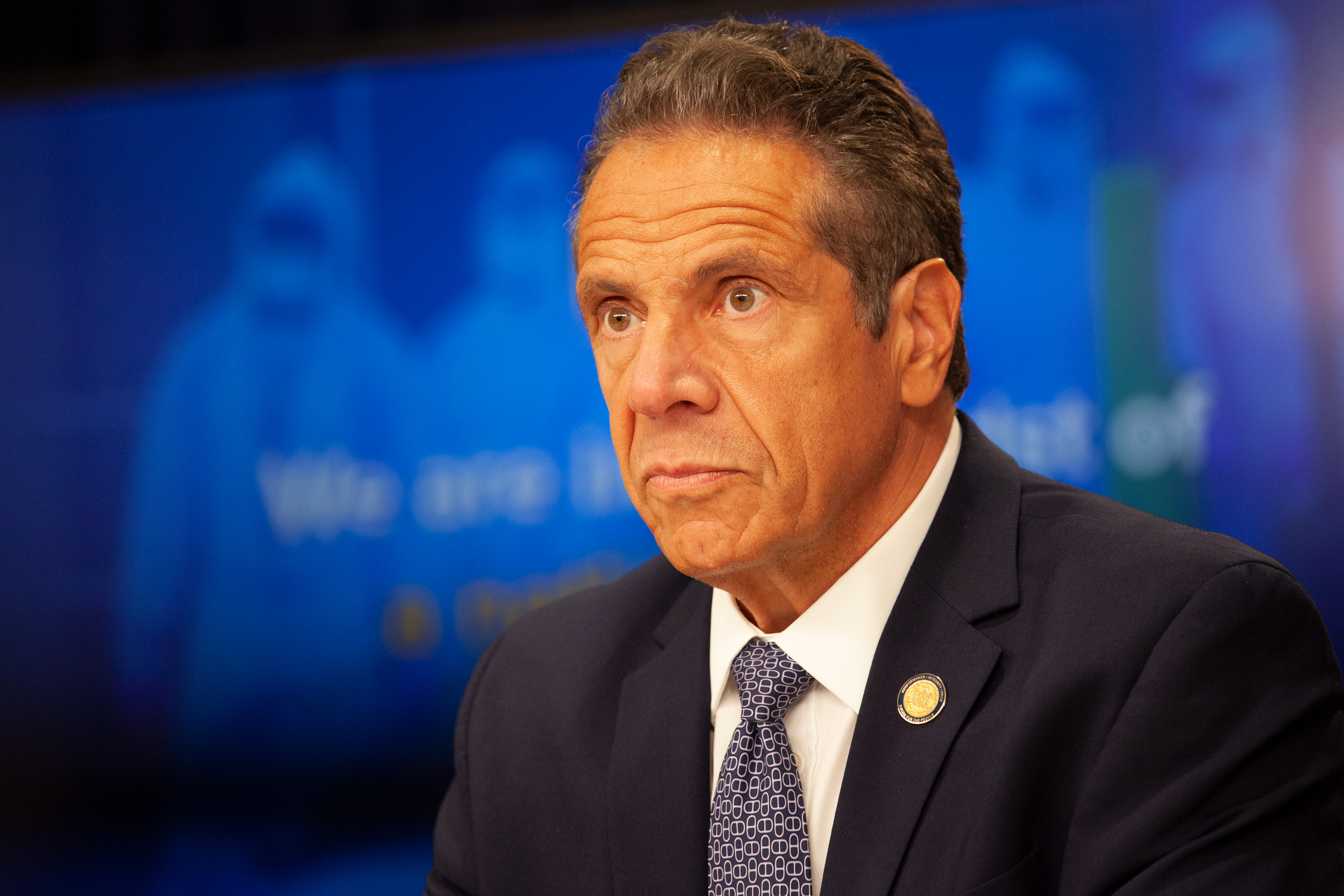 Gov. Andrew Cuomo gives updates on the coronavirus outbreak during a press conference at his midtown office, July 1, 2020.