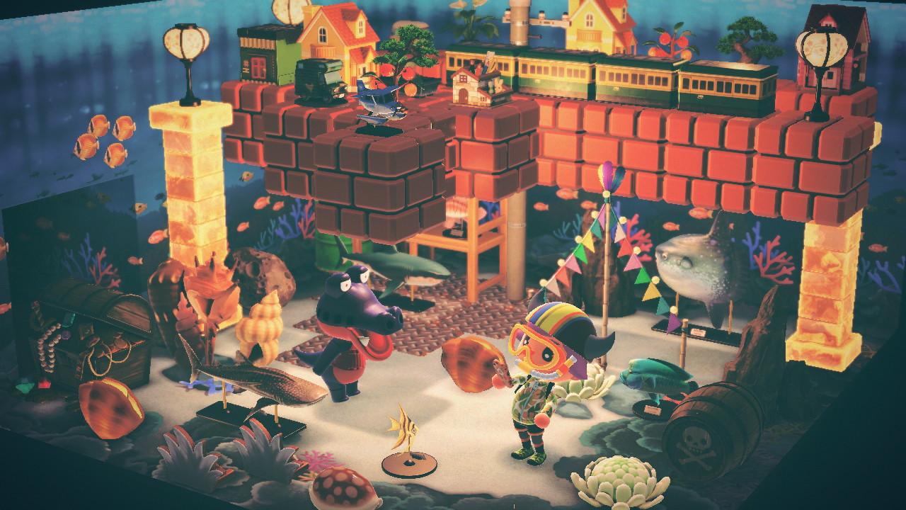 Floating Mario blocks in Animal Crossing: New Horizons.
