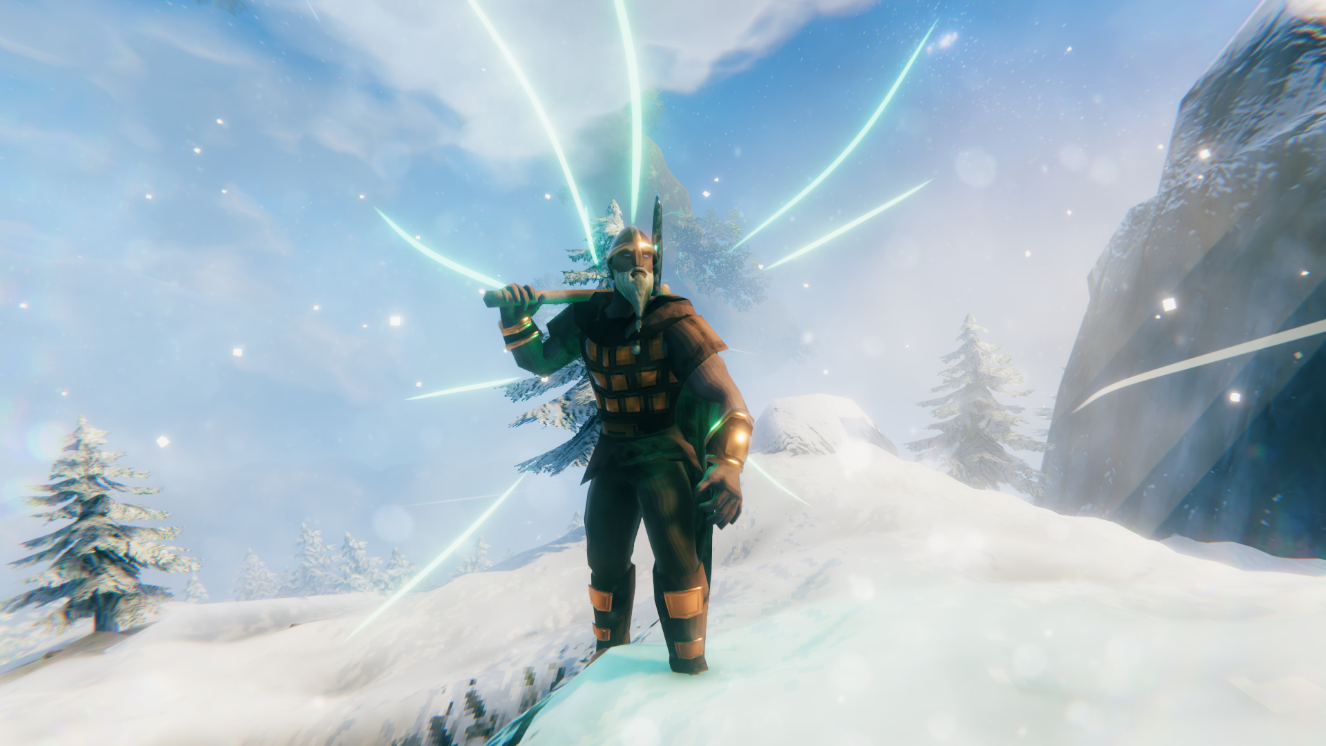 A Viking stands on a mountaintop in Valheim