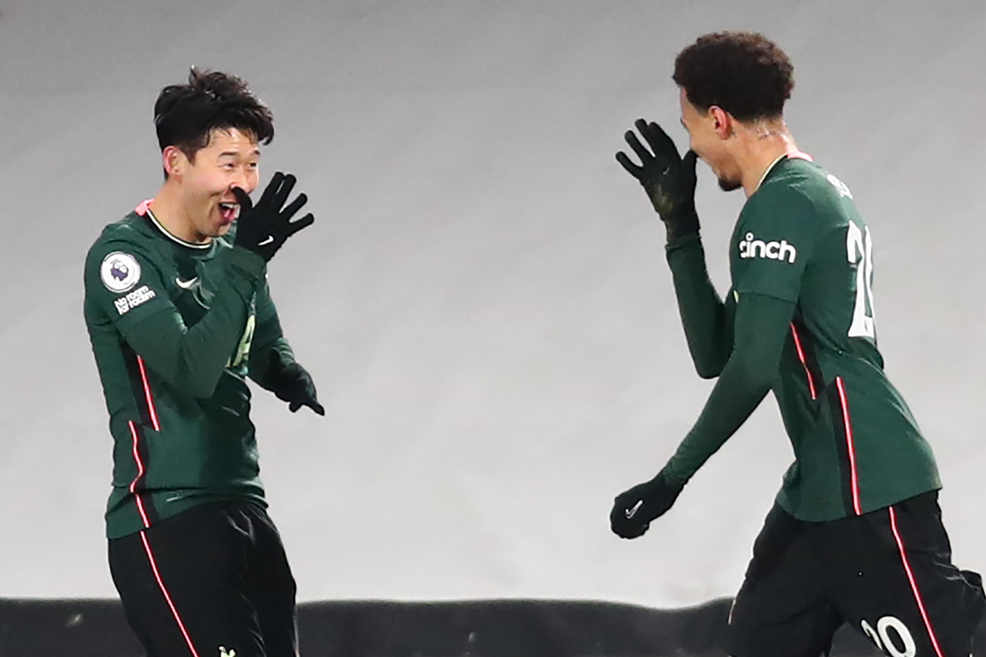 Dele Alli celebrates with Son Heung-Min - Tottenham Hotspur - Premier League
