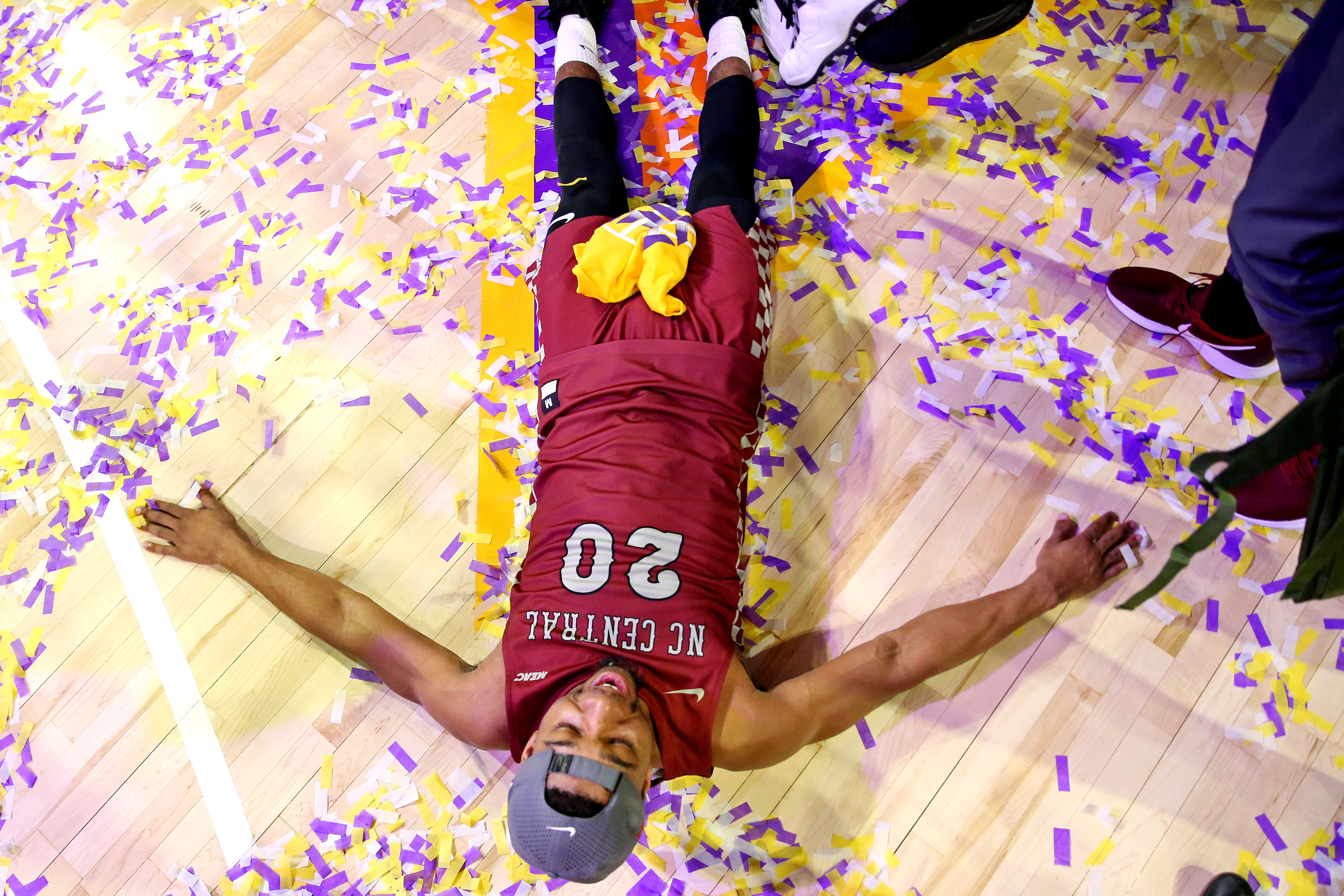North Carolina Central Eagles guard Julian Walters celebrates beating the Norfolk State Spartans in the MEAC Tournament Final at The Scope.