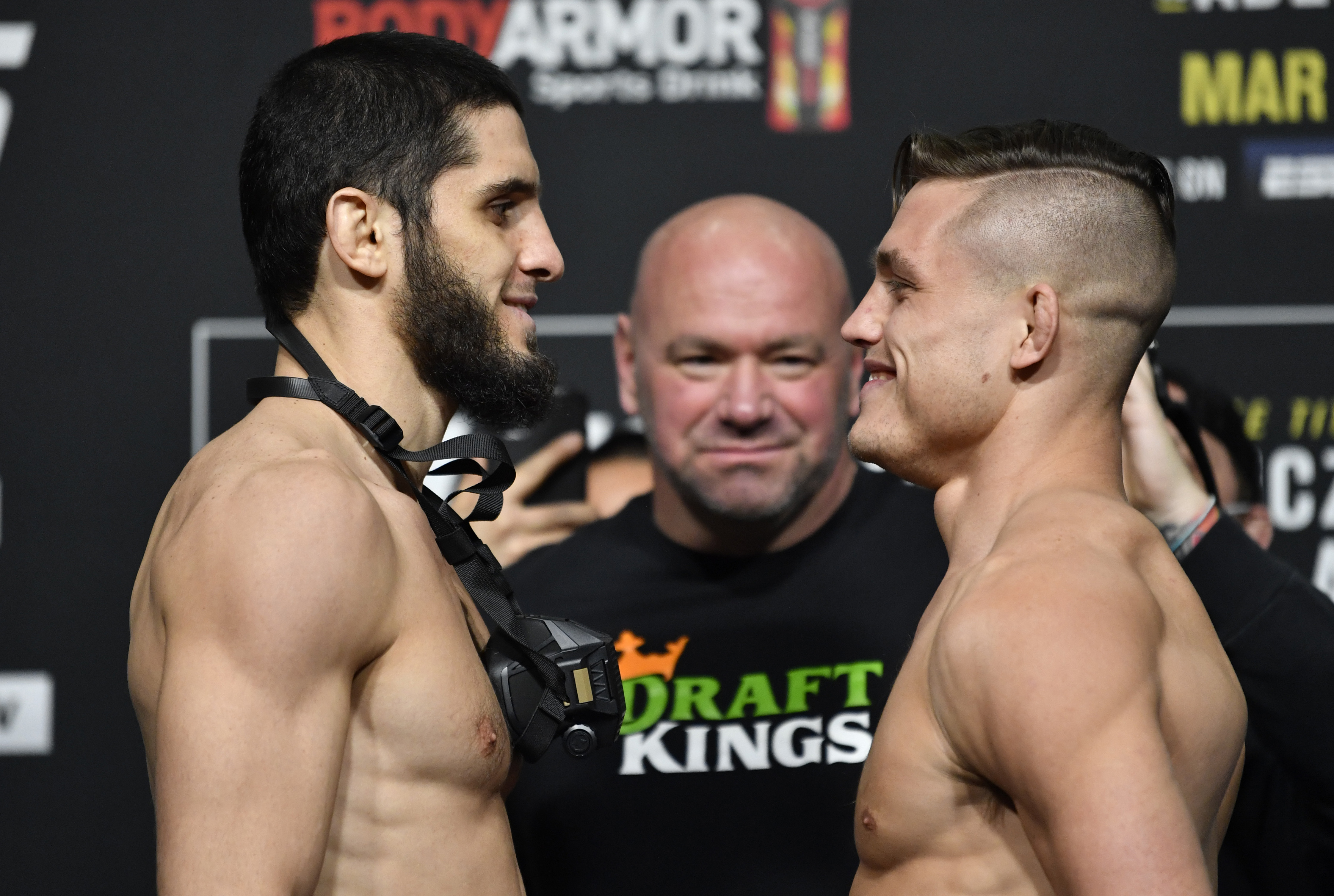 Islam Makhachev and Drew Dober at UFC 259