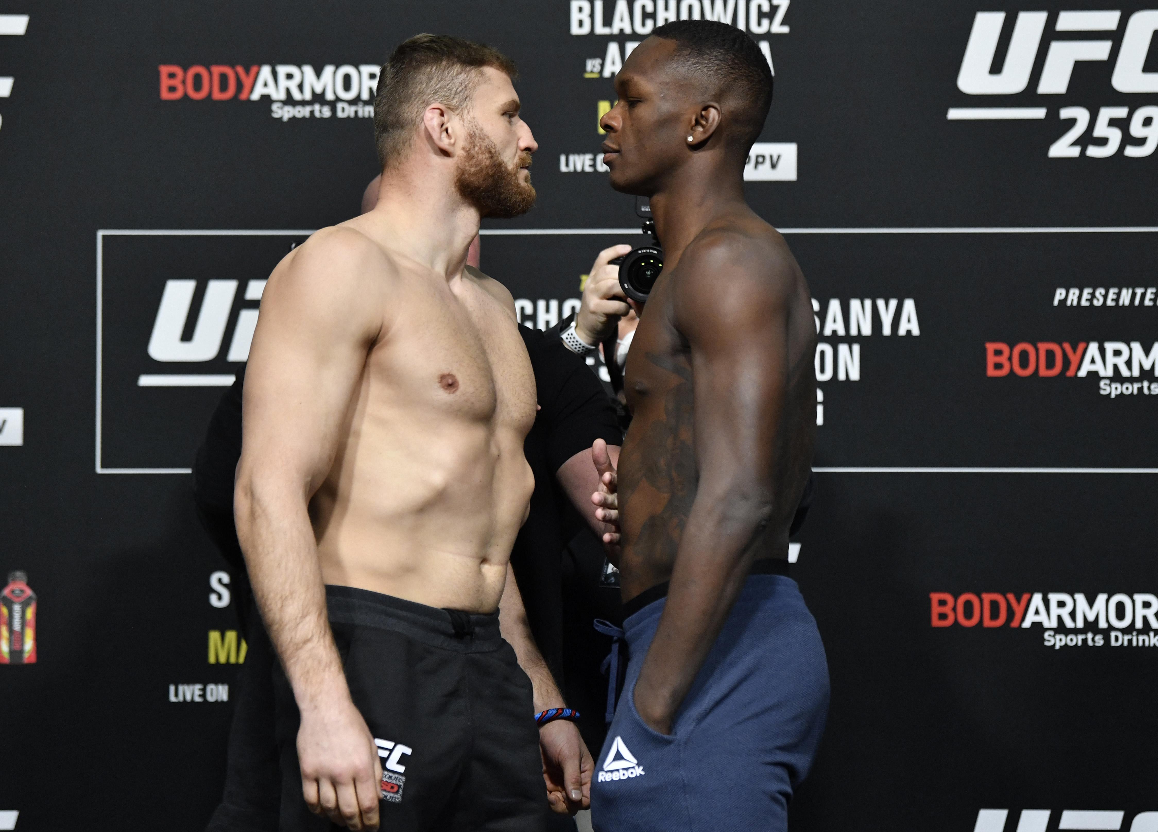 Jan Blachowicz and Israel Adesanya at UFC 259