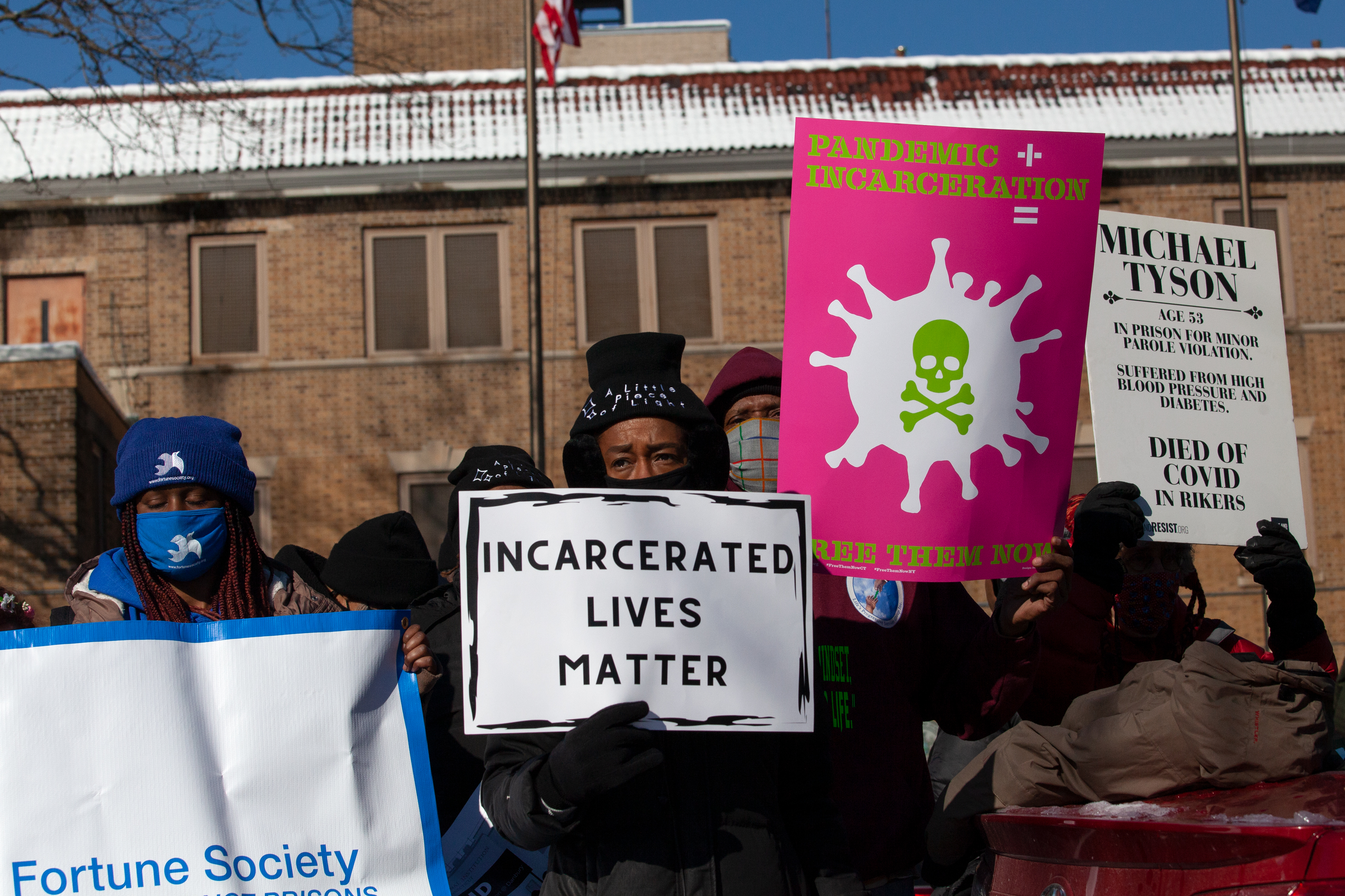 Criminal justice reform advocates protest outside Washington Height's Edgecombe Correctional Facility, calling out unsafe conditions in jails during the coronavirus outbreak, Feb. 8, 2021.