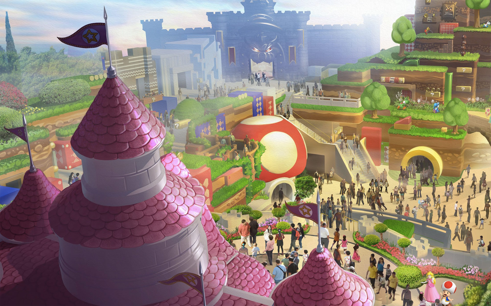 a render of the Super Nintendo World theme park, with Peach's castle overlooking the rest of a theme park crowded with people