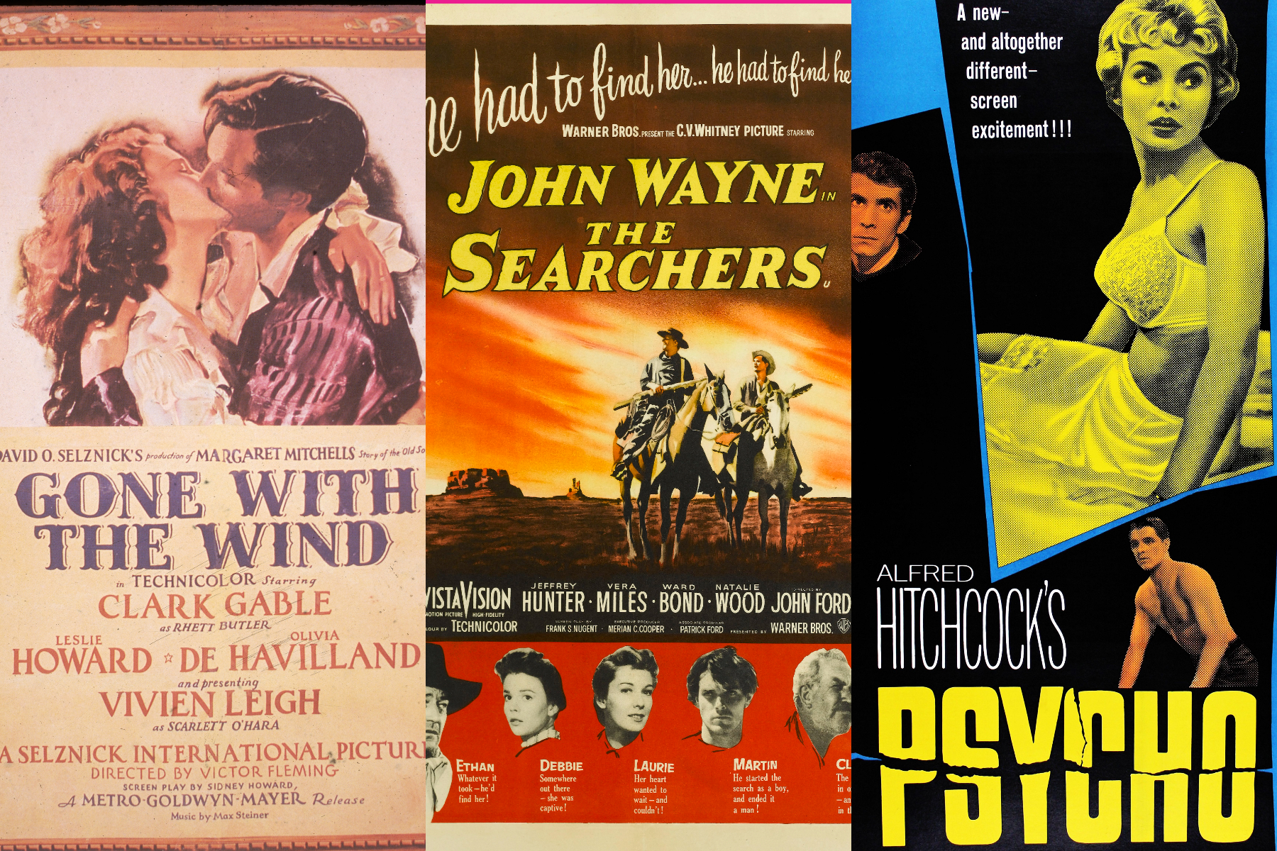 Posters for Gone With the Wind, The Searchers, and Psycho