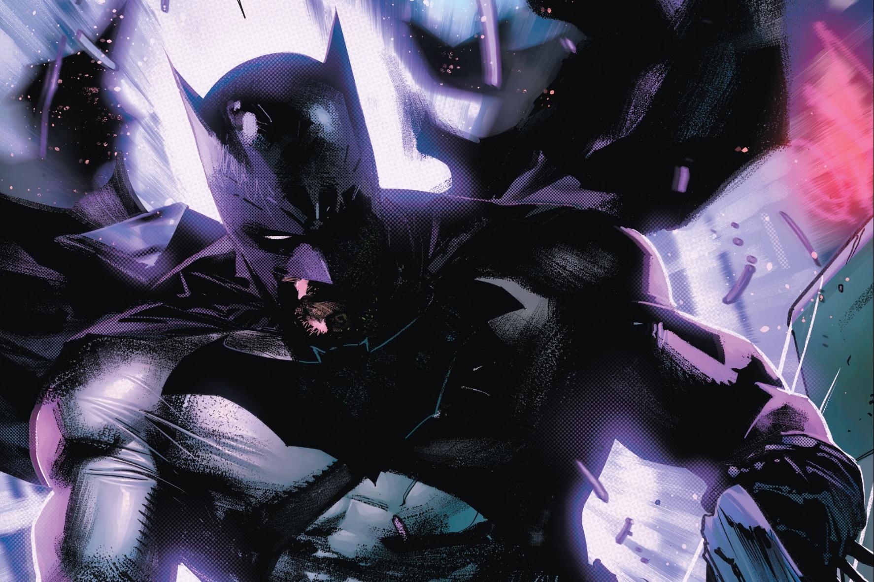 Batman, cape billowing, in Batman #106, DC Comics (2021).