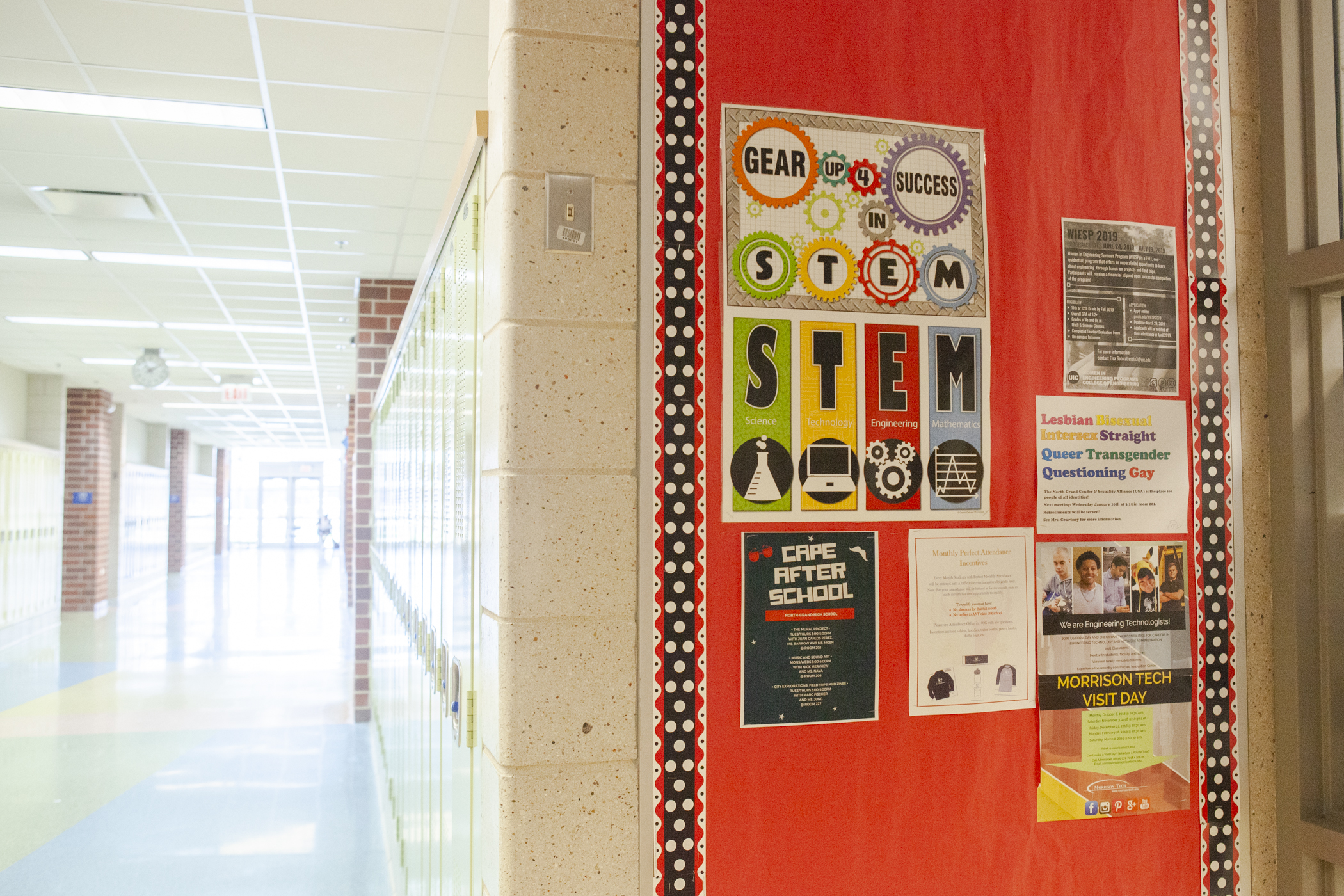 STEM posters hang on a wall in May 2019 at North-Grand High School in Chicago.