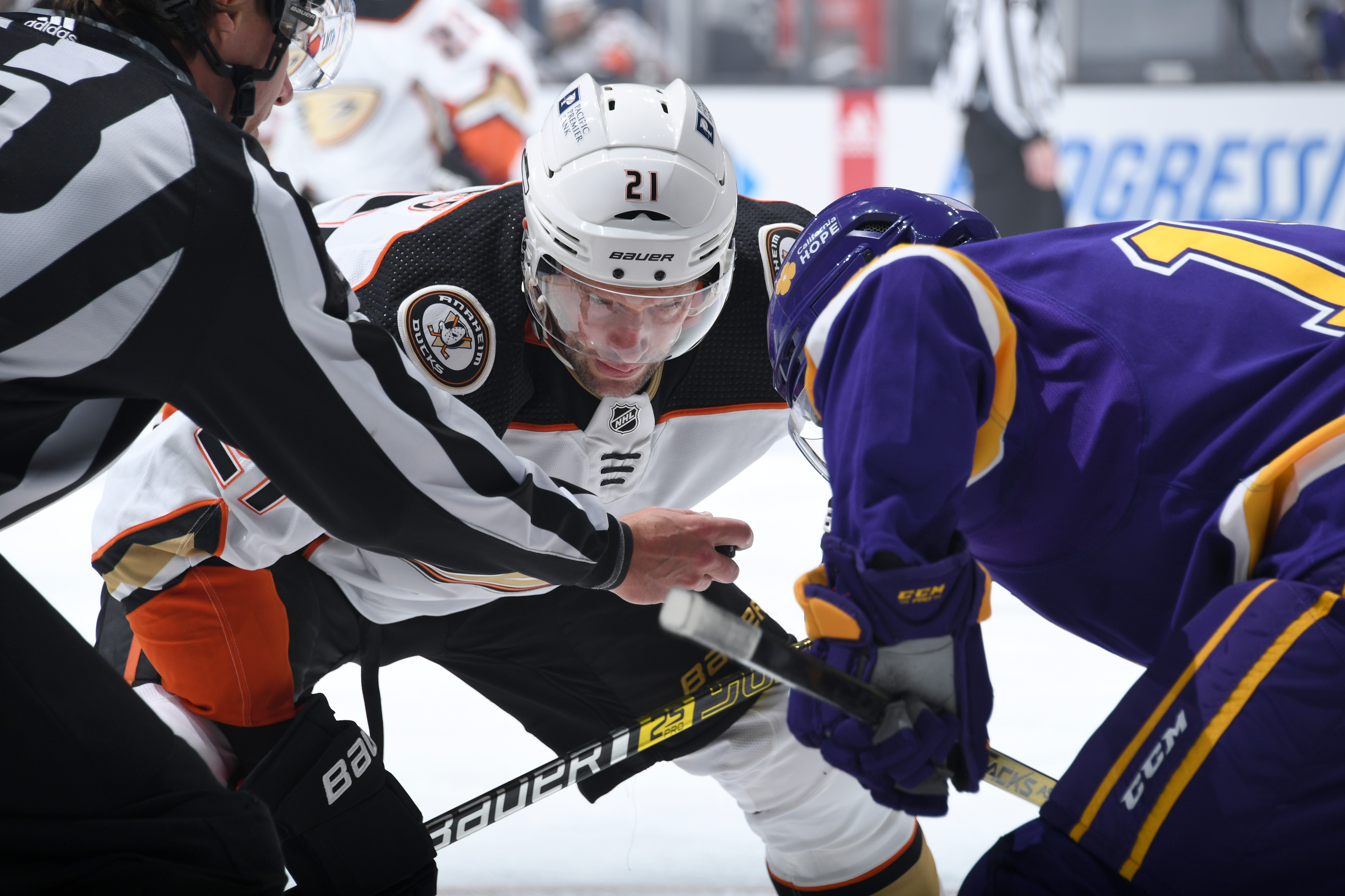 David Backes #21 of the Anaheim Ducks gets ready for the puck drop during the first period against the Los Angeles Kings at STAPLES Center on February 2, 2021 in Los Angeles, California.