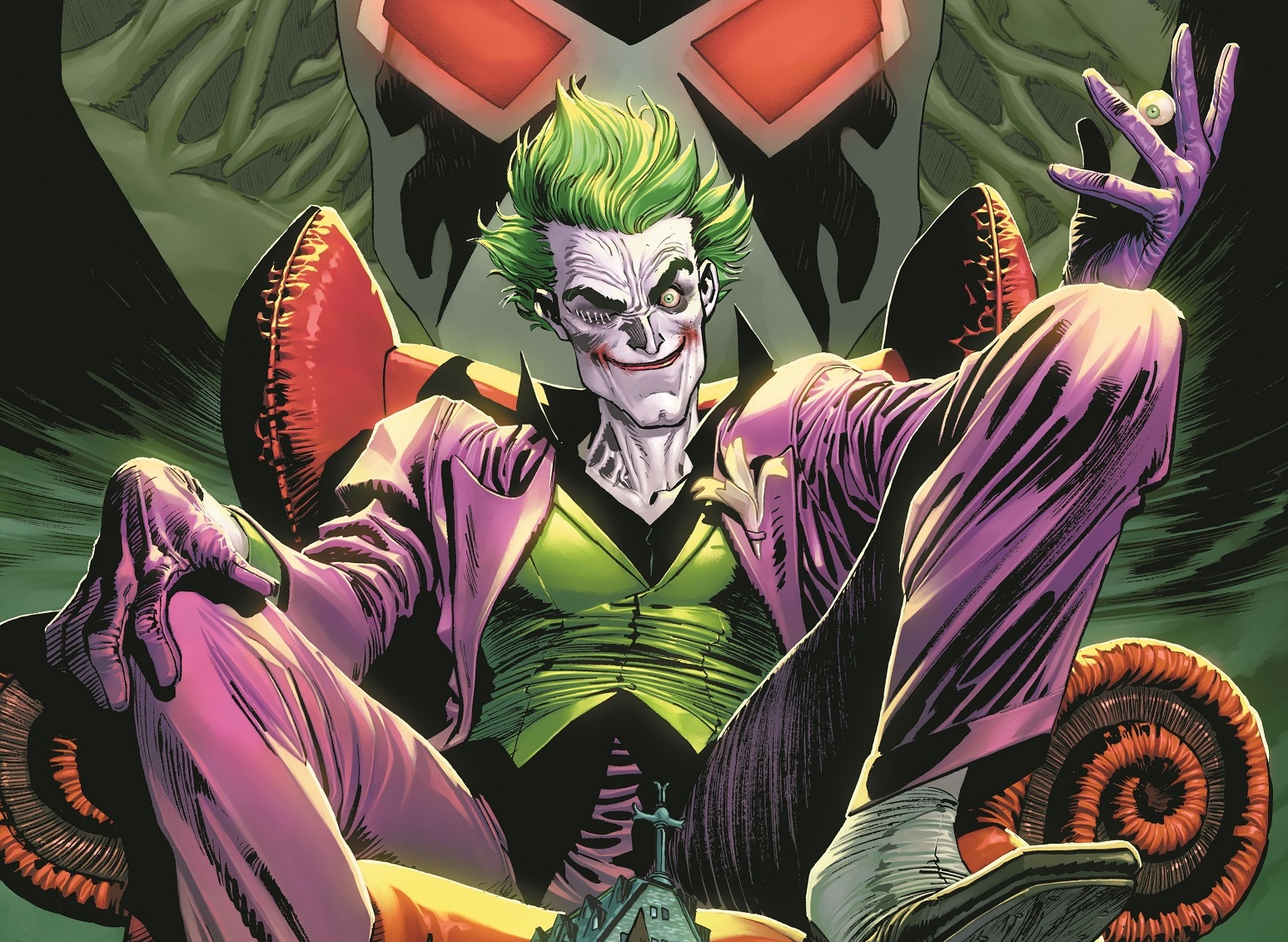 The Joker sprawls on a throne in a purple suit and green vest. His right eyelid is sewn shut. From the cover of The Joker #1, DC Comics (2021).