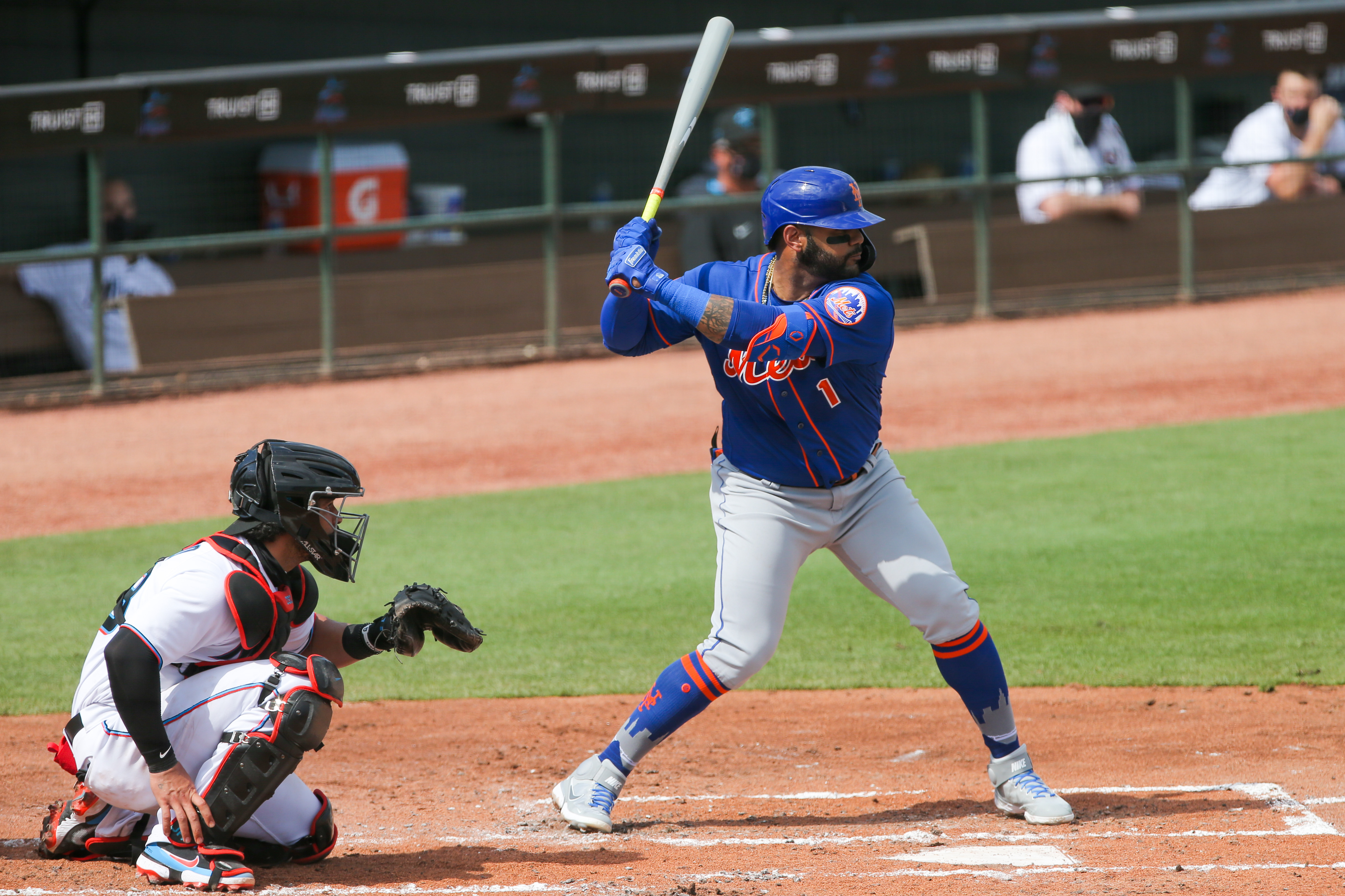 New York Mets second baseman Jonathan Villar (1) stands at the plate against the Miami Marlins in the fourth inning at Roger Dean Chevrolet Stadium.