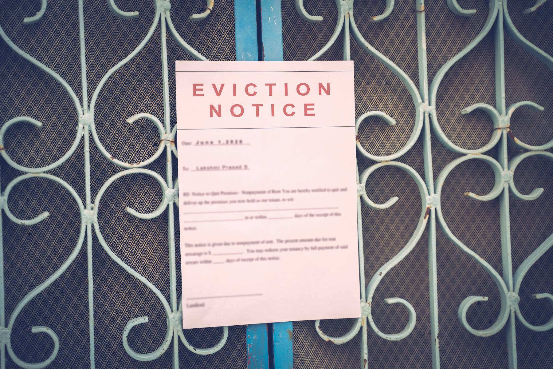 A stock image of an eviction notice