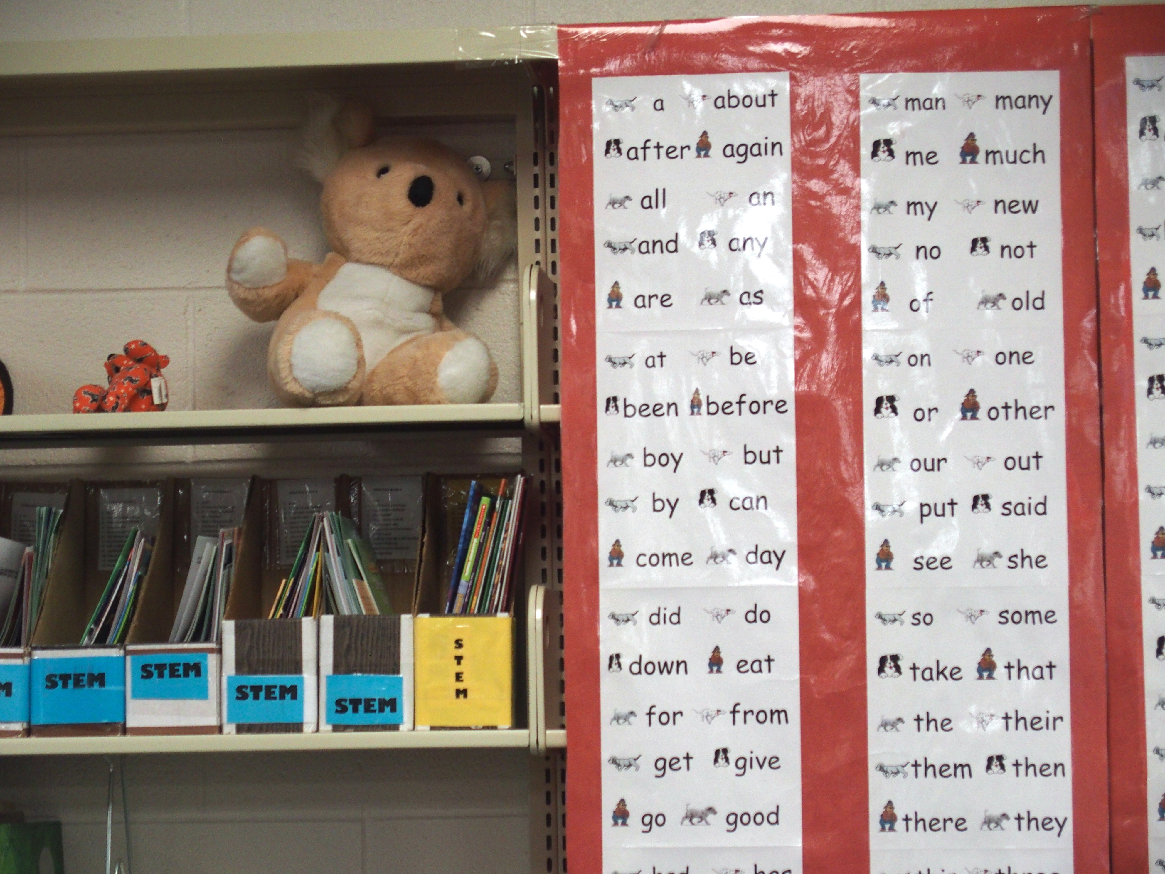 Word chart in a school library. The shelf also has science resources and a stuffed koala bear