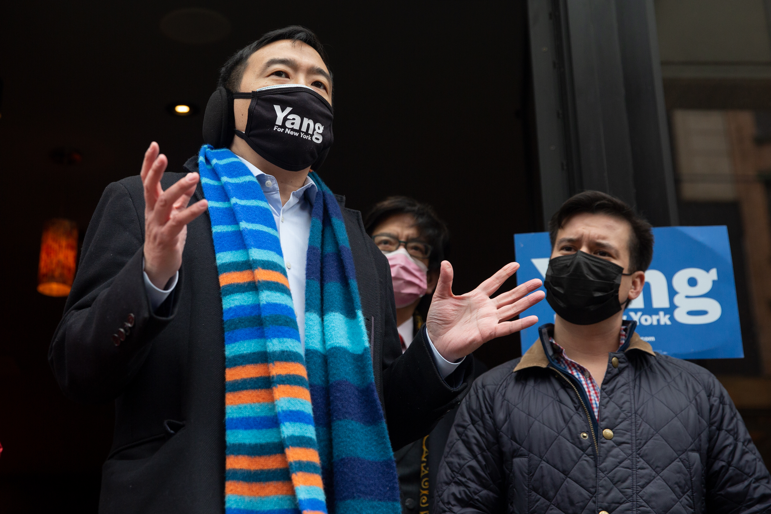 Mayoral candidate Andrew Yang speaks in Chinatown, Jan. 28, 2021.