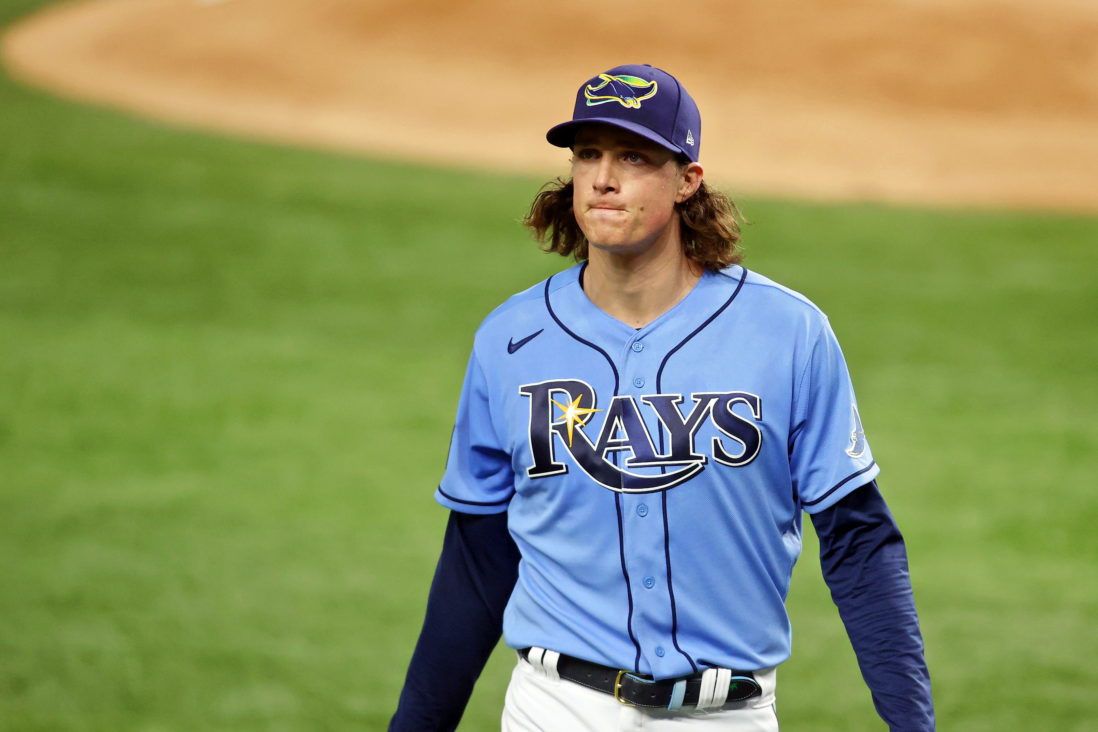 Tampa Bay Rays starting pitcher Tyler Glasnow (20) leaves the field after pitching against the Los Angeles Dodgers during the second inning during game five of the 2020 World Series at Globe Life Field.