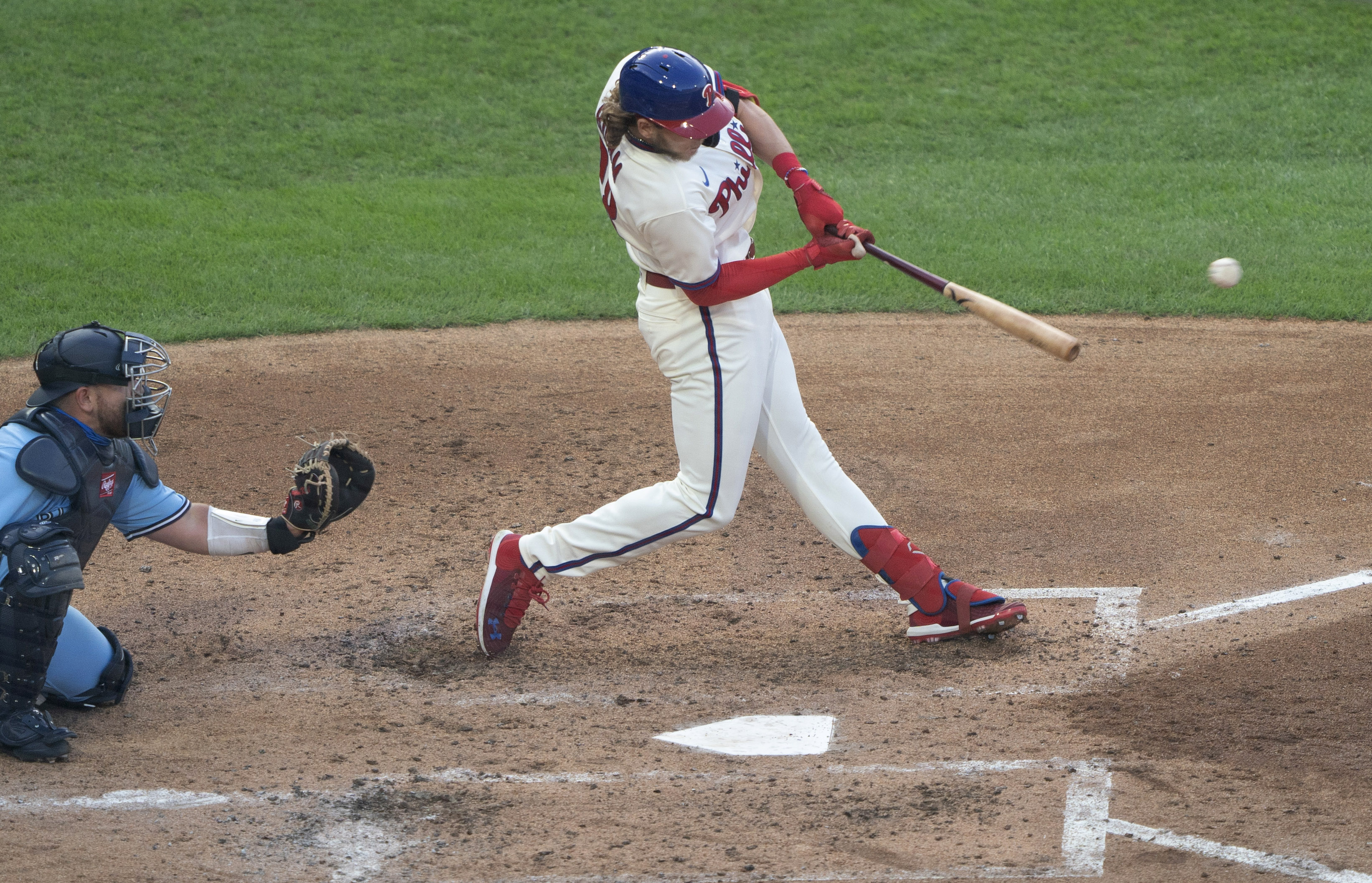Philadelphia Phillies third baseman Alec Bohm (28) hits a single during the fifth inning against the Toronto Blue Jays at Citizens Bank Park.