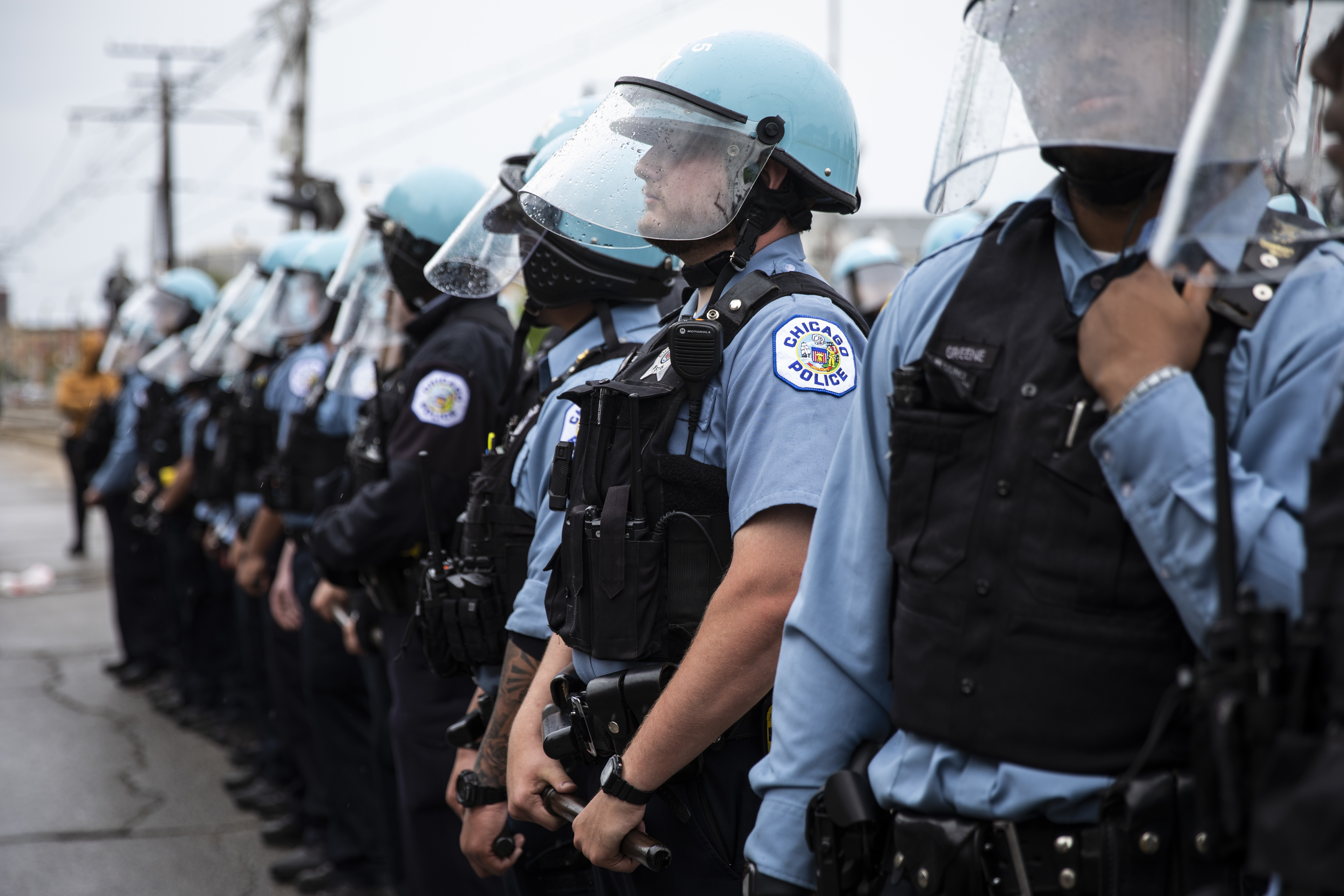 These Chicago police officers were on duty near East 71st Street and South Chappel Avenue in South Shore on Monday, June 1, 2020 after a weekend of protests, riots and looting throughout the city.