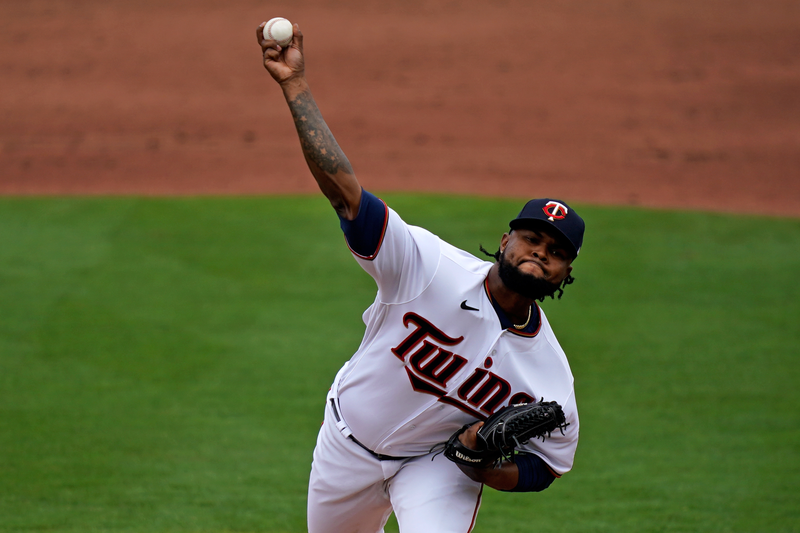 Minnesota Twins relief pitcher Alex Colome (48) delivers a pitch in the 3rd inning of the spring training game against the Boston Red Sox at CenturyLink Sports Complex.