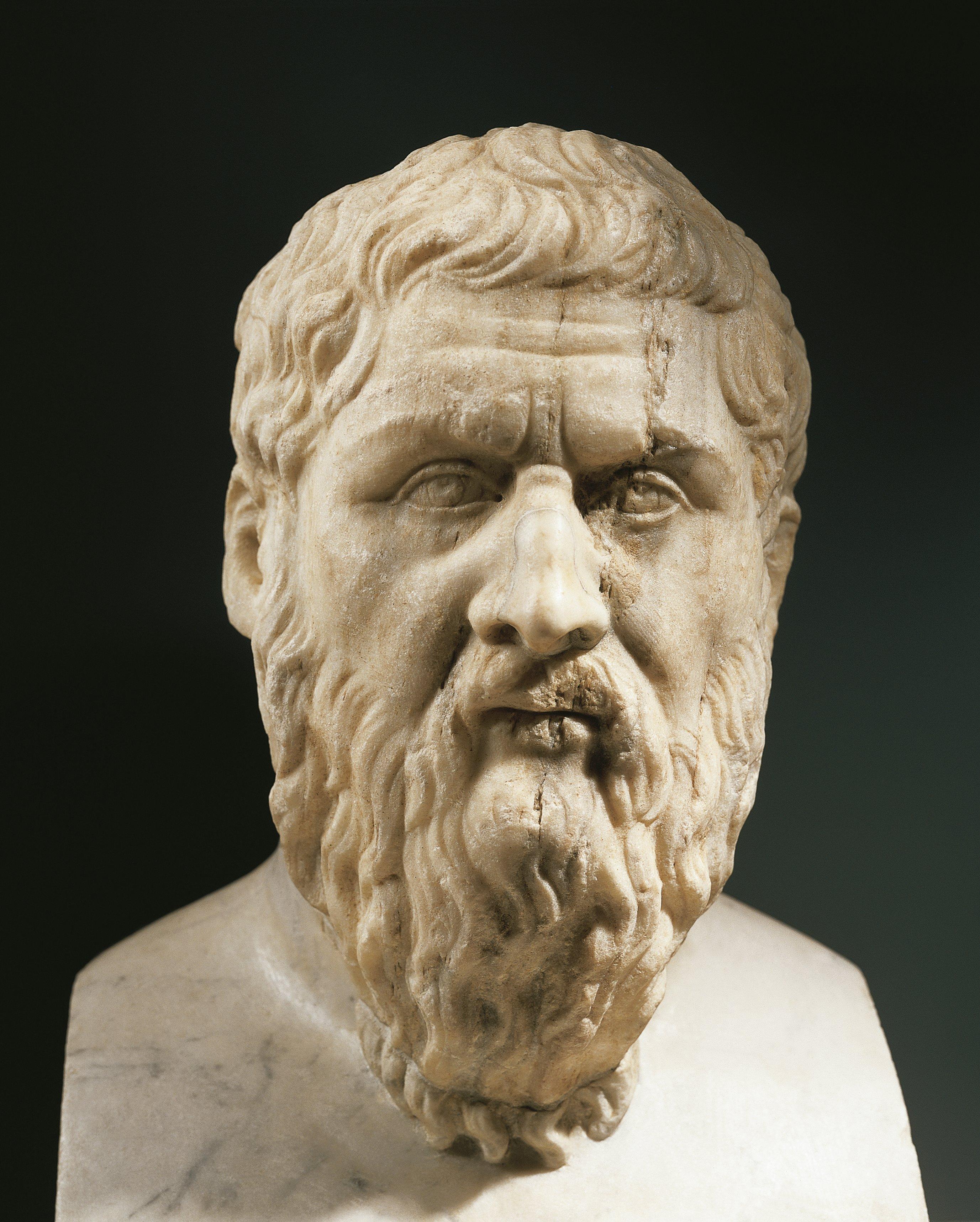 Head of Plato (circa 428- 248 B.C.), Greek philosopher, marble
