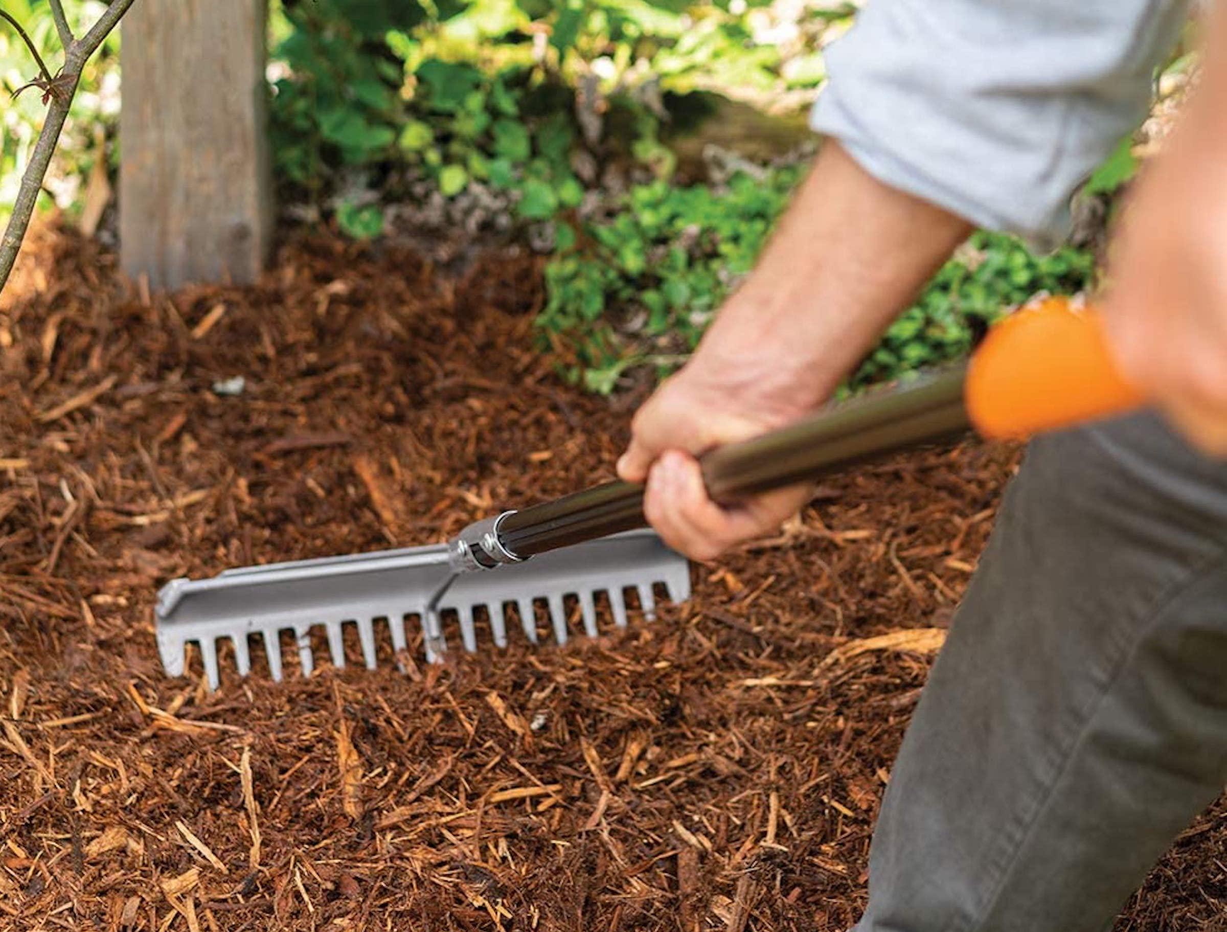 Fiskars Garden Rake Used on Mulch