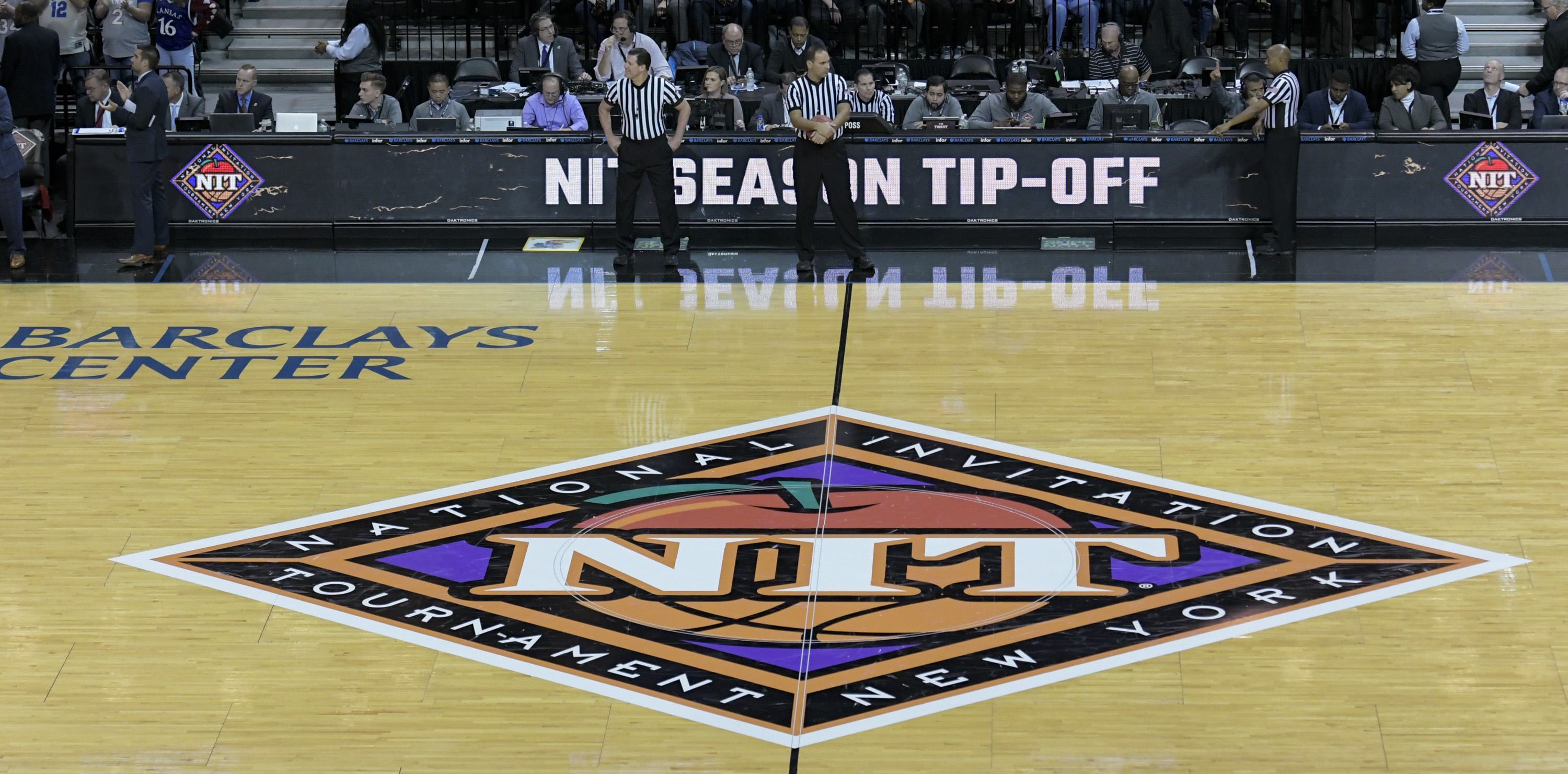 The NIT Tournament logo on the floor at the Barclays Center during the NIT Season Tip-Off on Nov. 21, 2018 in the Brooklyn borough of New York City.