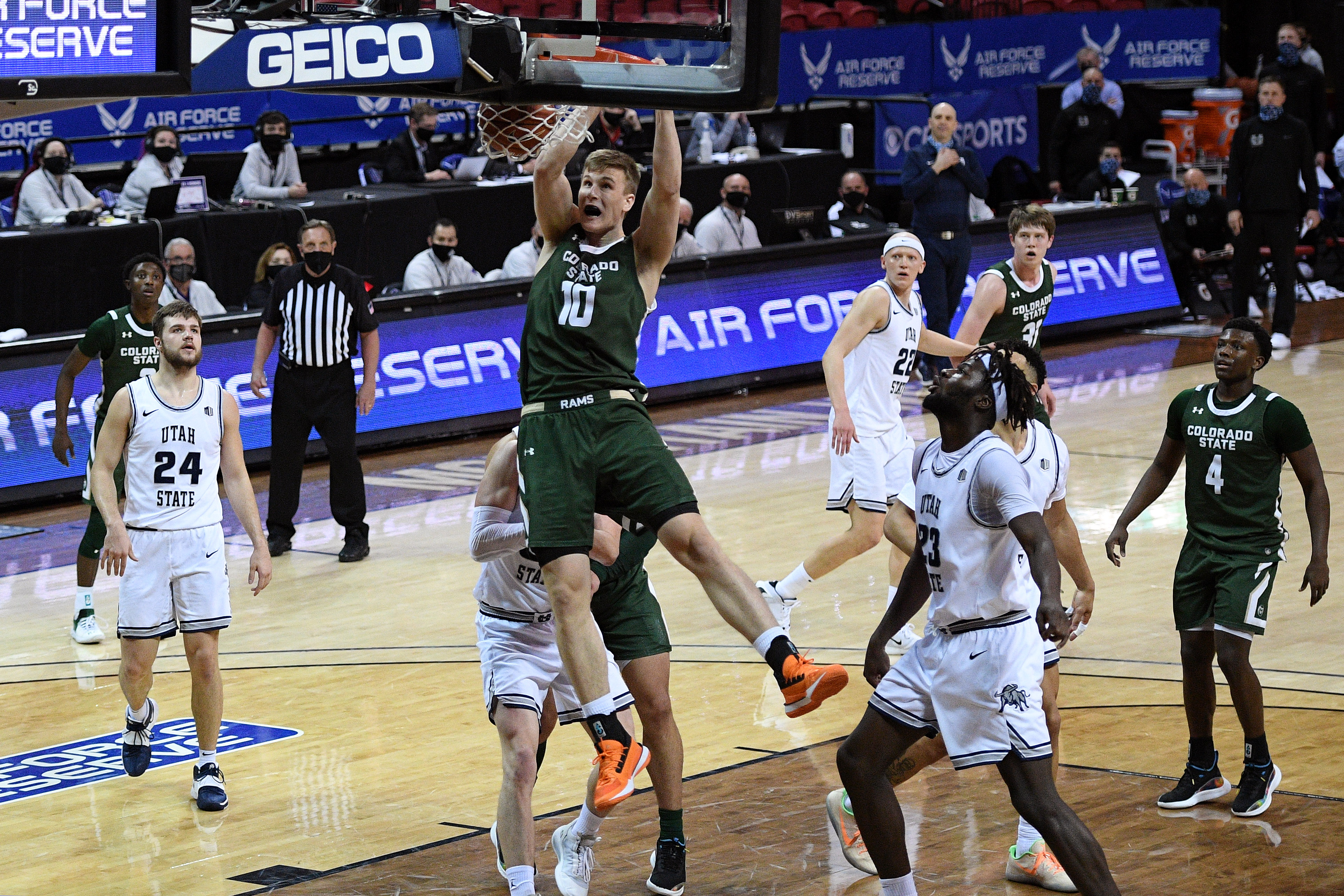 Colorado State Rams forward James Moors dunks the ball against the Utah State Aggies during the second half at Thomas & Mack Center.