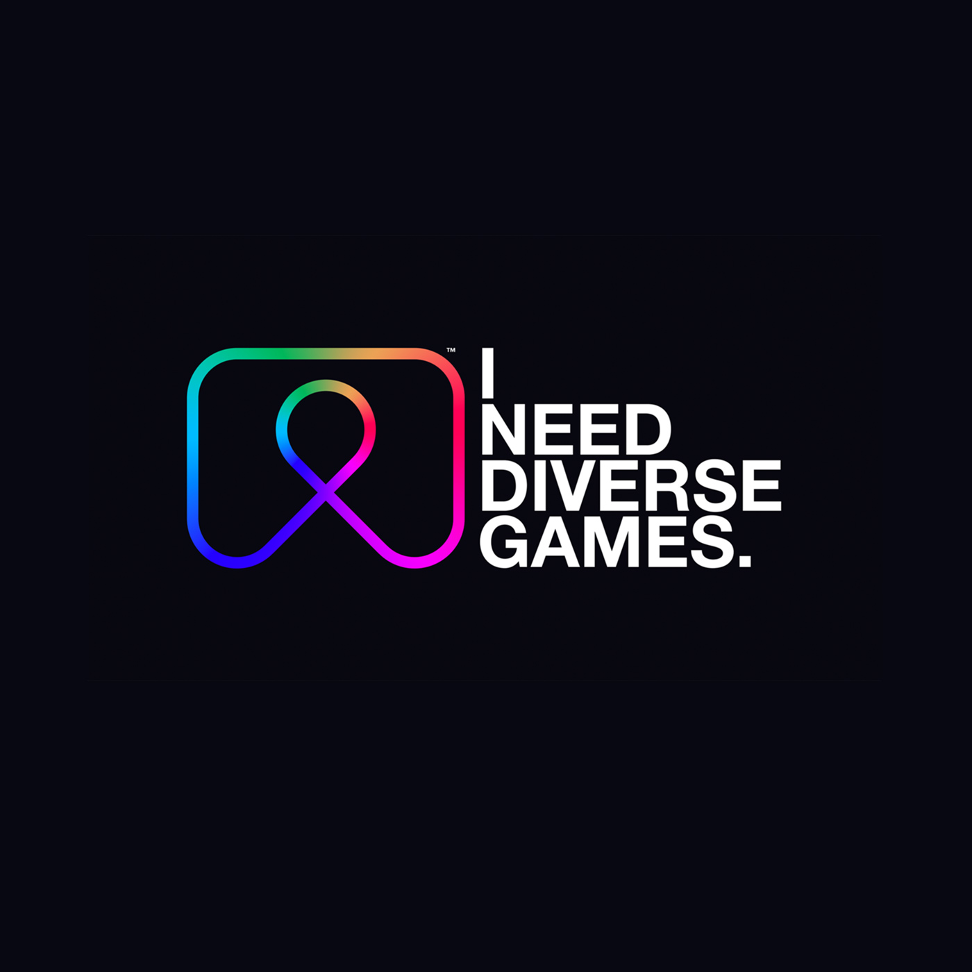"Text reads, ""I Need Diverse Games"" in white on a black background. To the left of the text is the INDG logo, an abstract outline of a video game controller in rainbow colors."