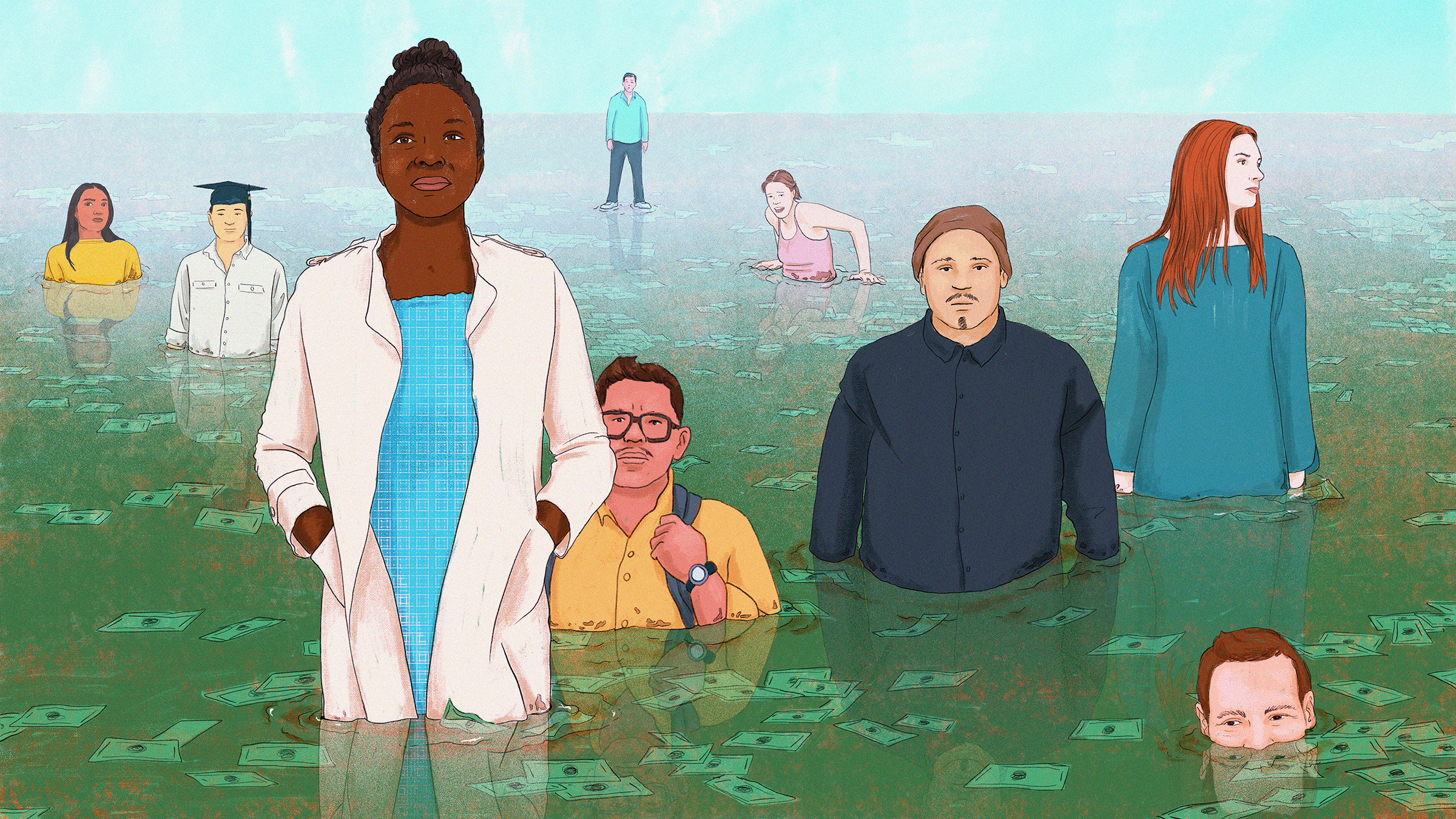 A diverse group of people are pictured at varying levels of underwater in this illustration about student debt.