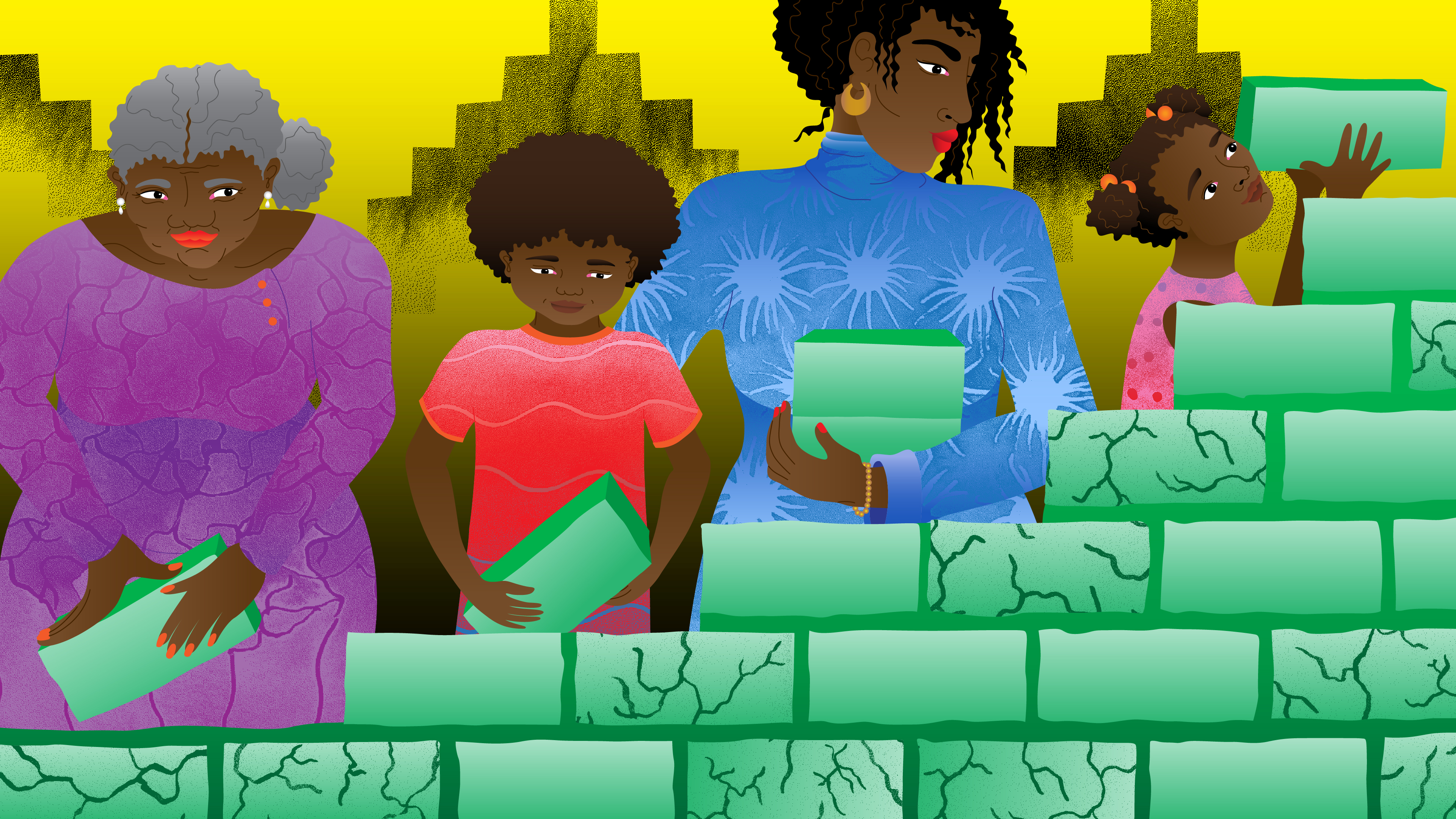 An illustration depicts an African American family stacking bricks together, and the older generation has fewer bricks, in this image about wealth.