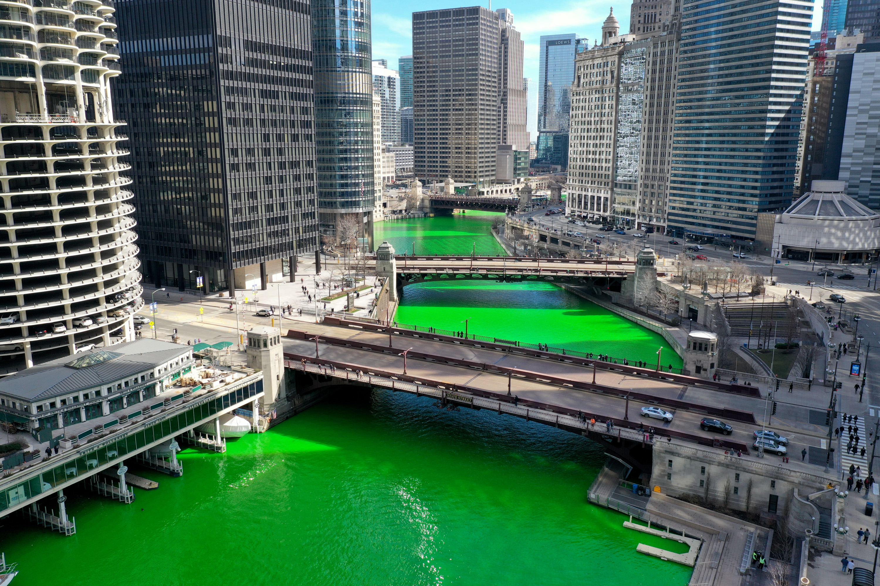 In A Surprise Move, Chicago River Dyed Green Ahead Of St Patrick's Day