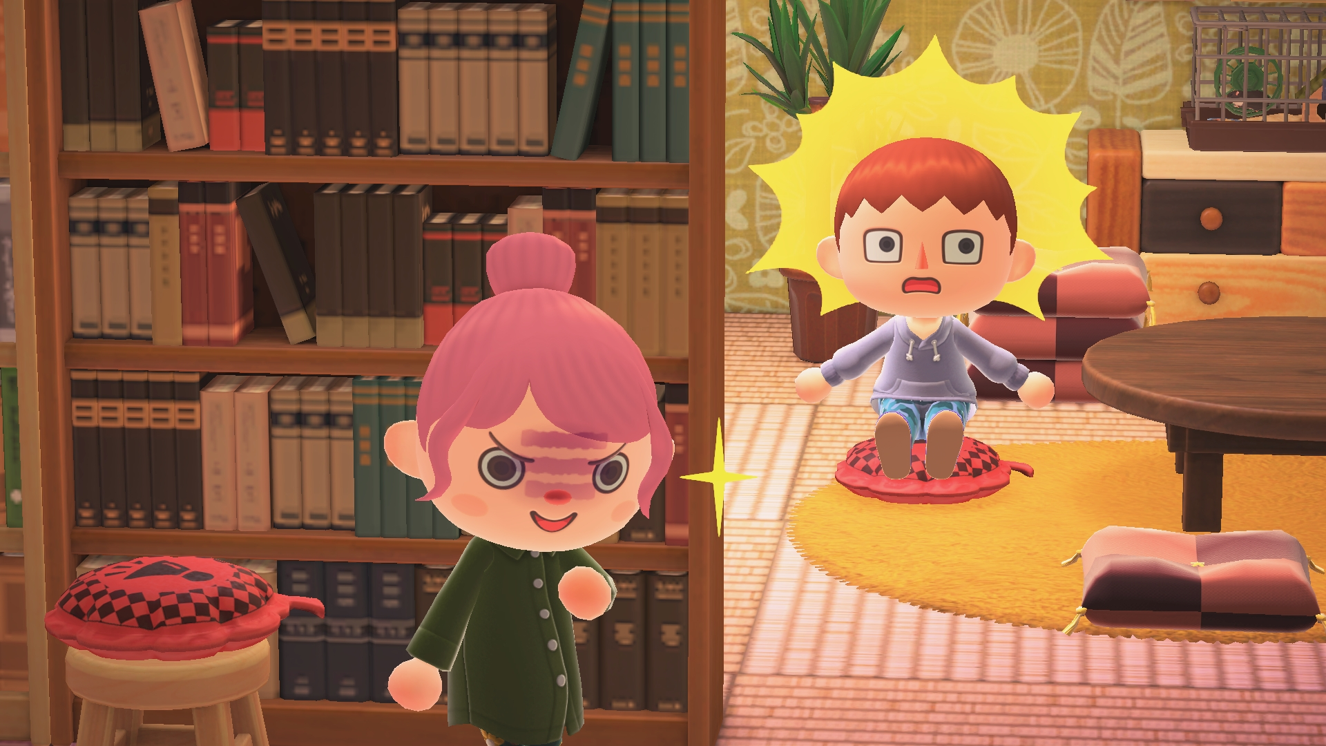 A villager smirks as another villager sits on a whoopee cushion in Animal Crossing: New Horizons.