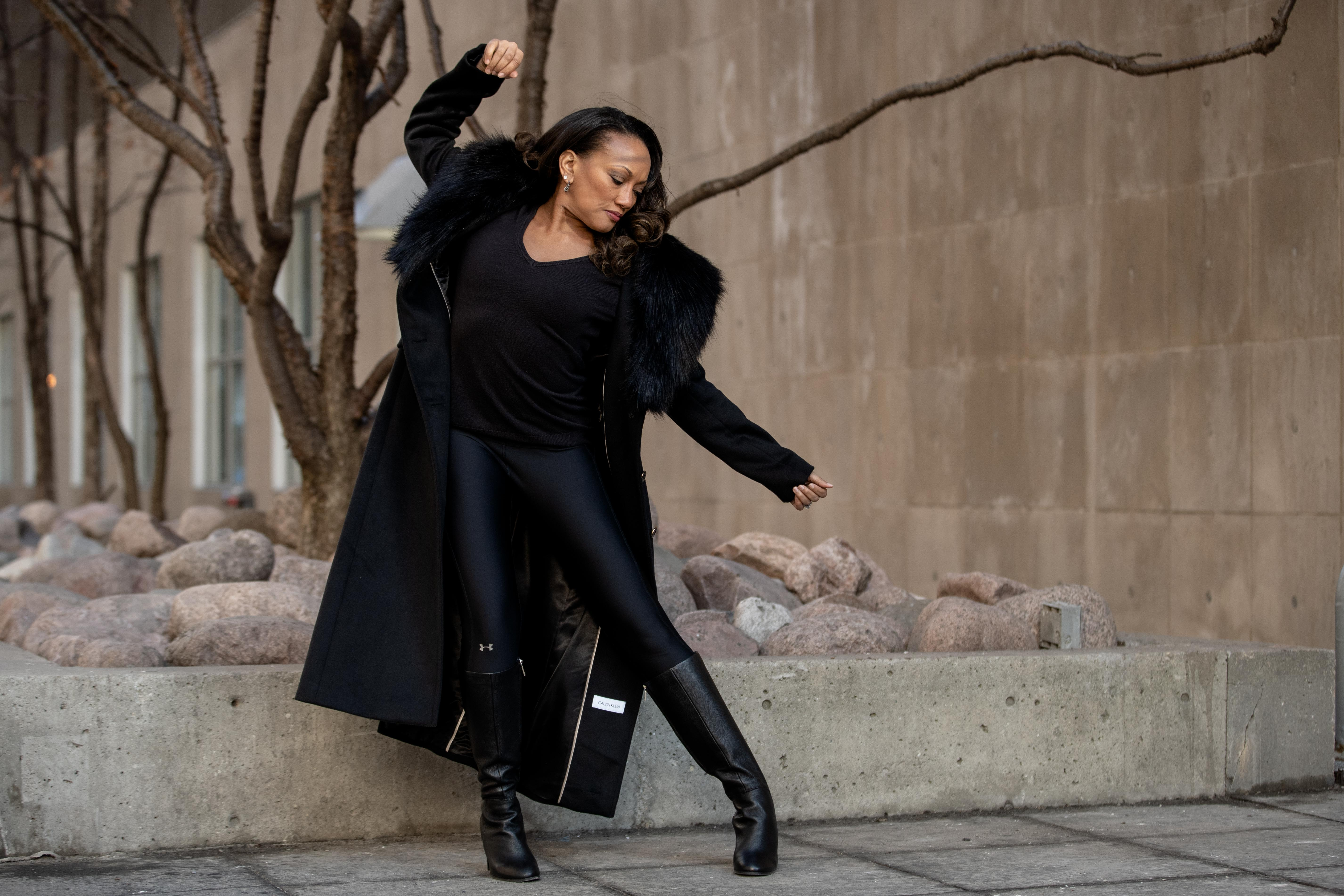 Linda-Denise Fisher-Harrell, the new artistic director of the Hubbard Street Dance Company, dances while posing for a portrait in the Gold Coast neighborhood, Saturday afternoon, March 6, 2021.   Pat Nabong/Sun-Times