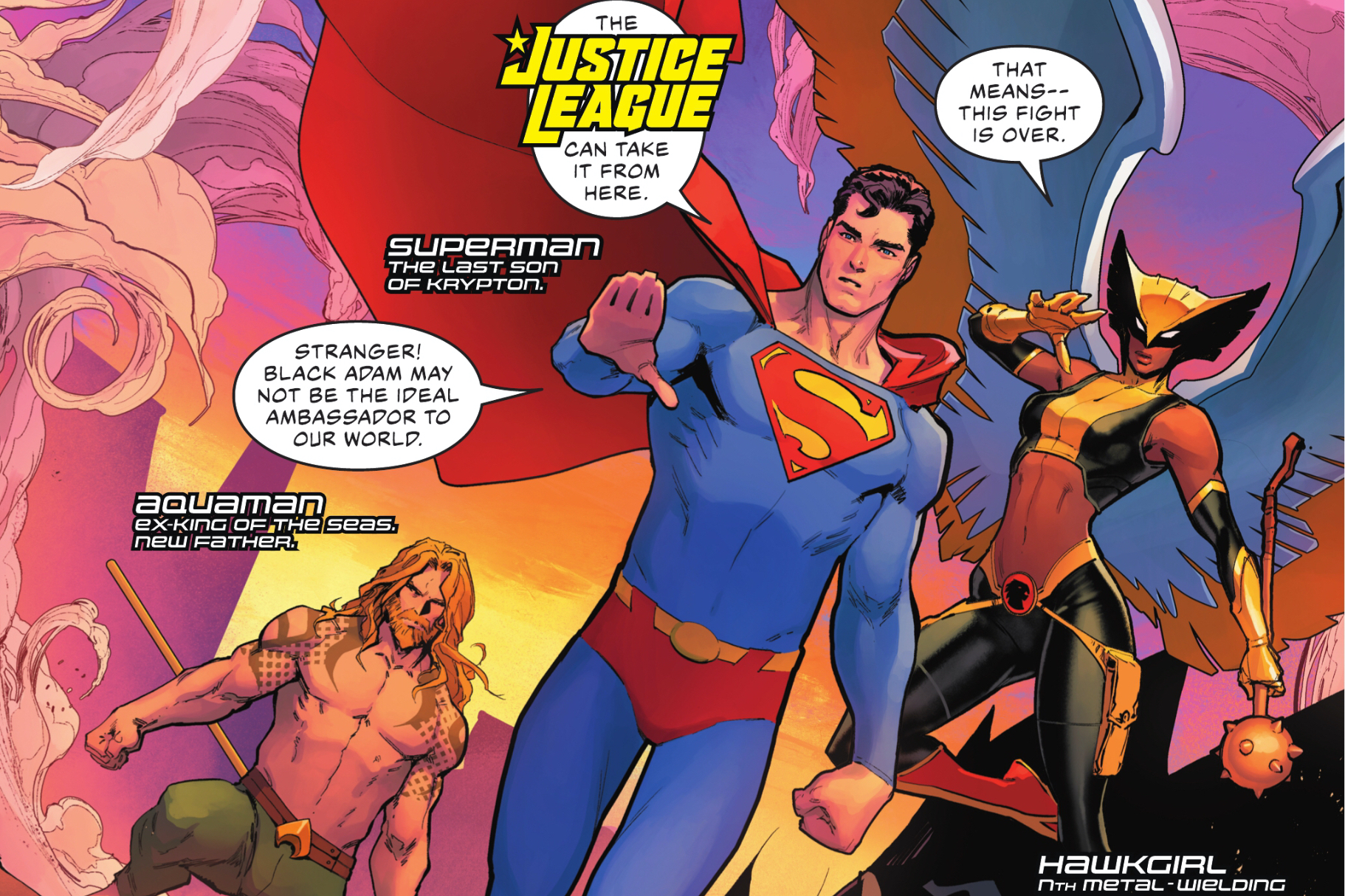 """""""The Justice League can take it from here,"""" Superman says as he, Hawkgirl, and Aquaman arrive on the scene in Justice League #59, DC Comics (2021)."""