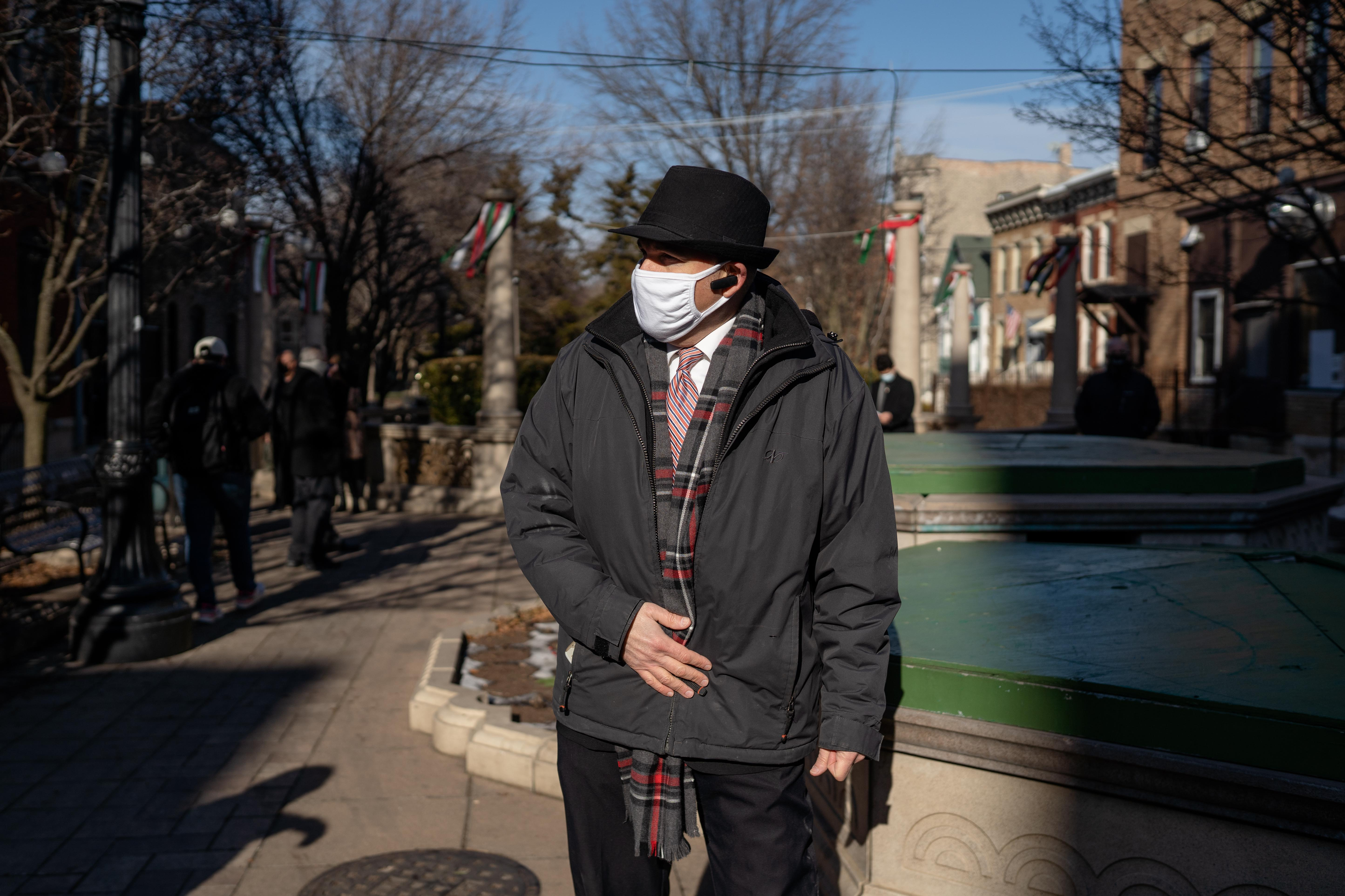 Roger Romanelli, the Chicago Restaurants Coalition coordinator, stands at the Taylor Street Public Plaza in the Little Italy neighborhood on Jan. 12, 2021.