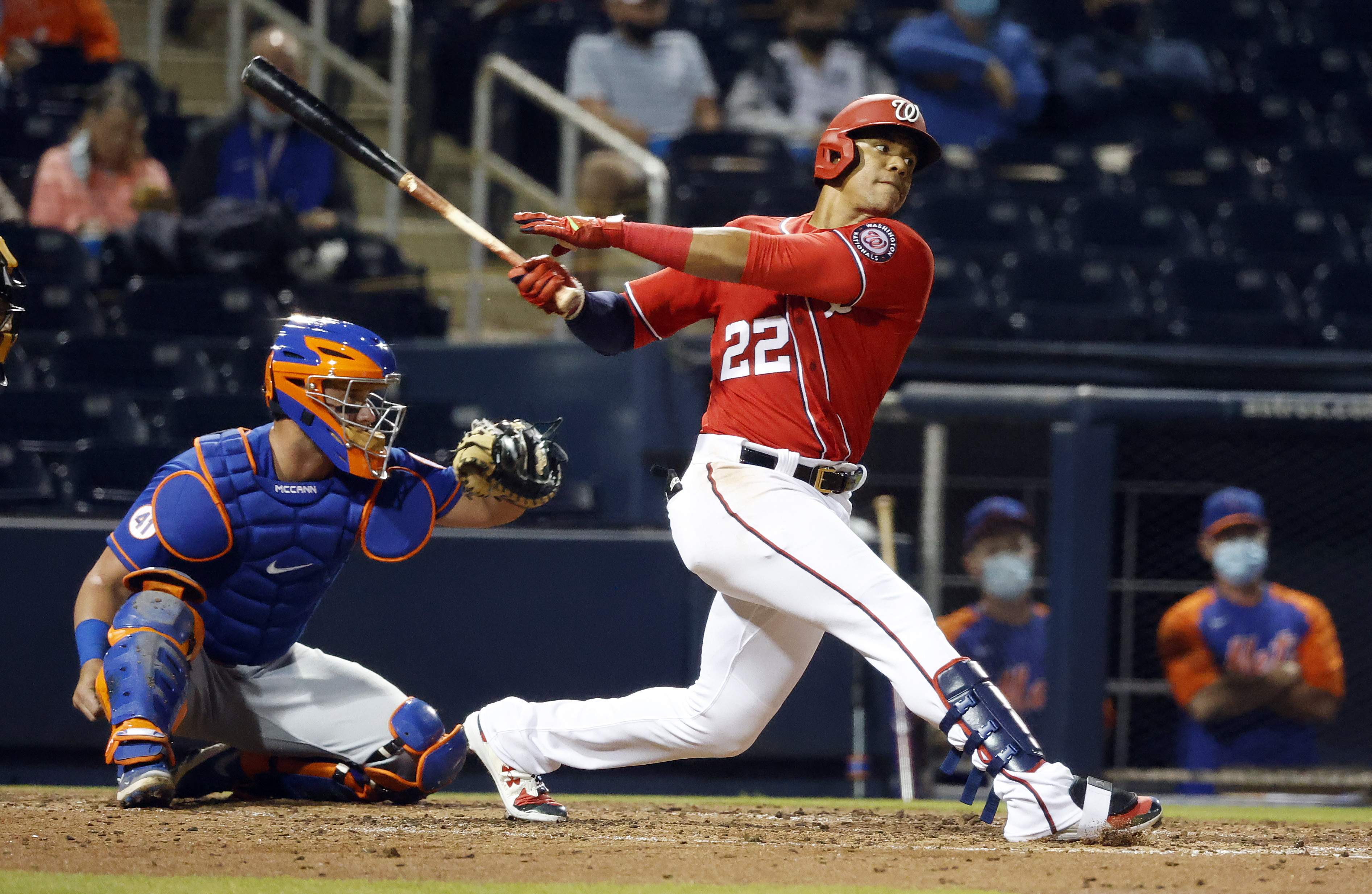 Washington Nationals outfielder Juan Soto at bat against the New York Mets during the third inning of a spring training game at FITTEAM Ballpark of the Palm Beaches.