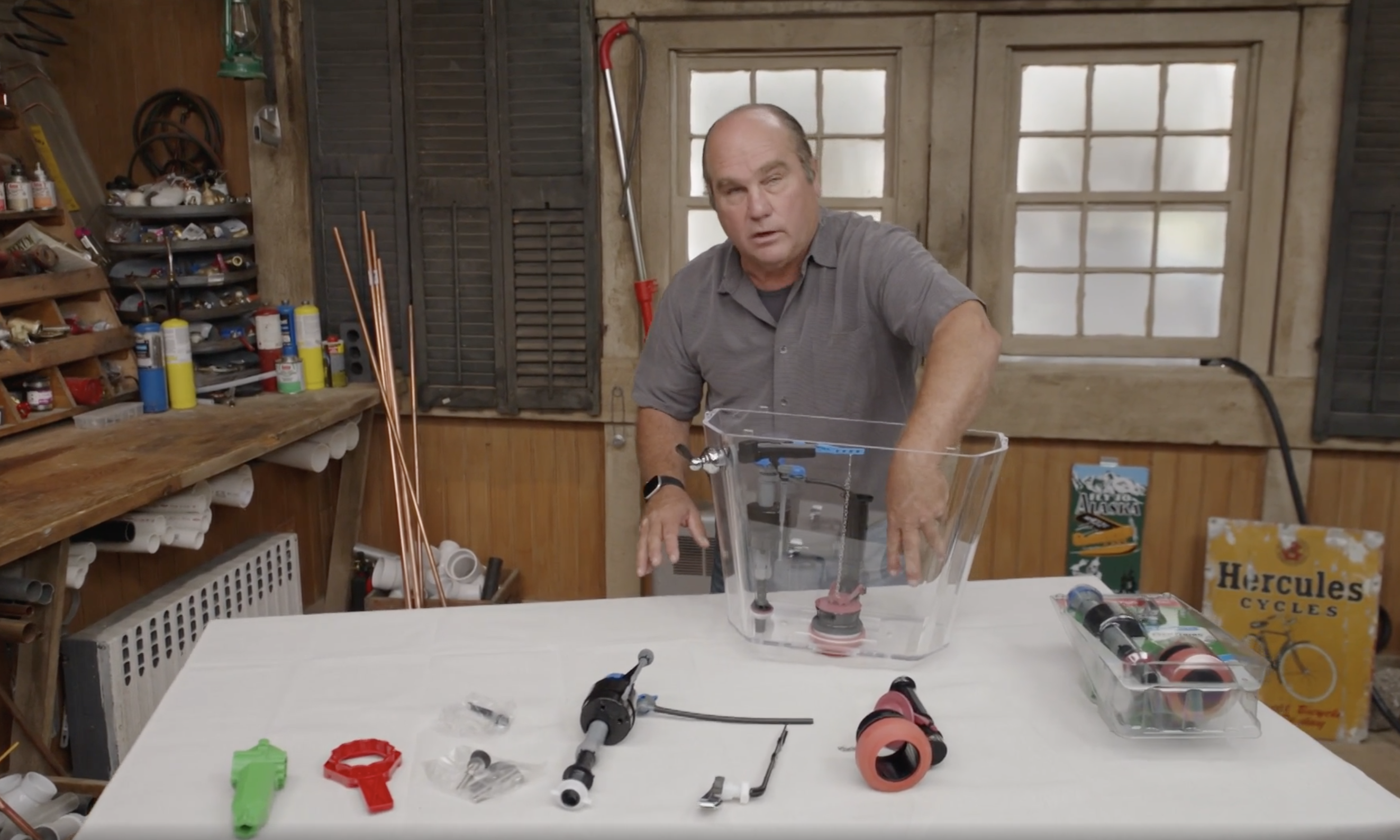 Richard Trethewey demonstrates how to fix toilet problems with a repair kit from Fluidmaster.