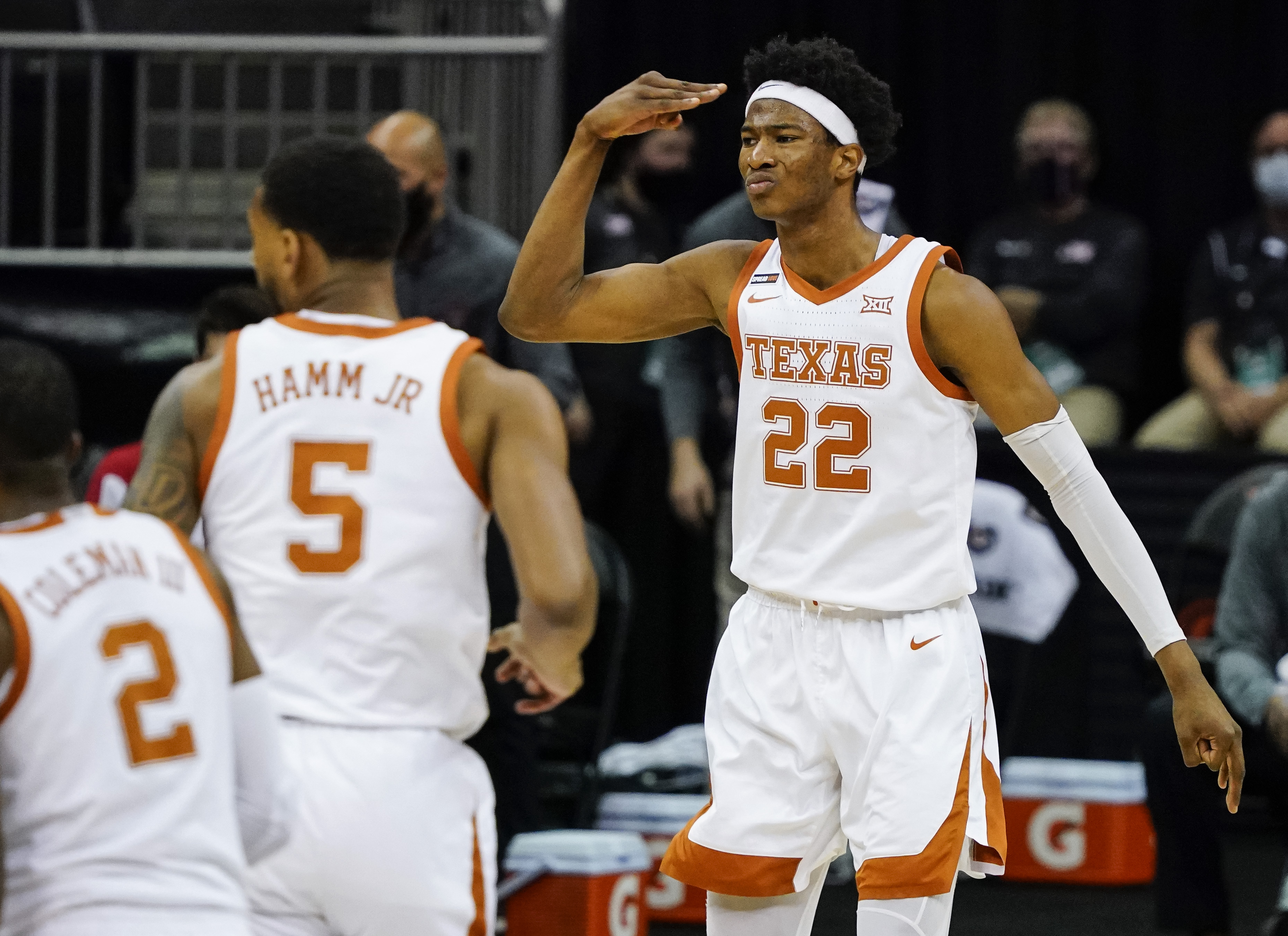 Texas Longhorns forward Kai Jones (22) celebrates after scoring against the Texas Tech Red Raiders during the second half at T-Mobile Center.