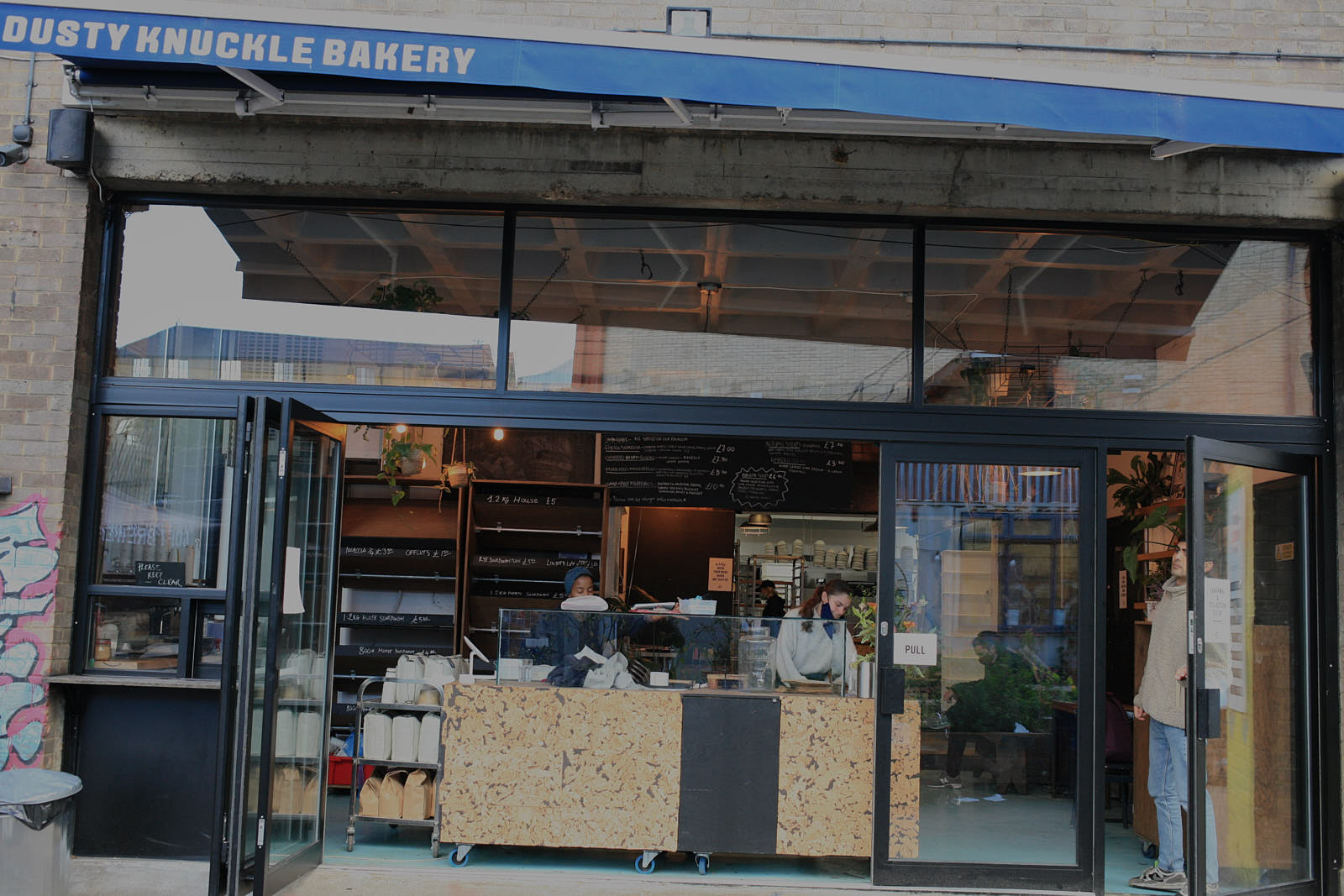 Dusty Knuckle bakery in Dalston on the eve of national coronavirus lockdown in England
